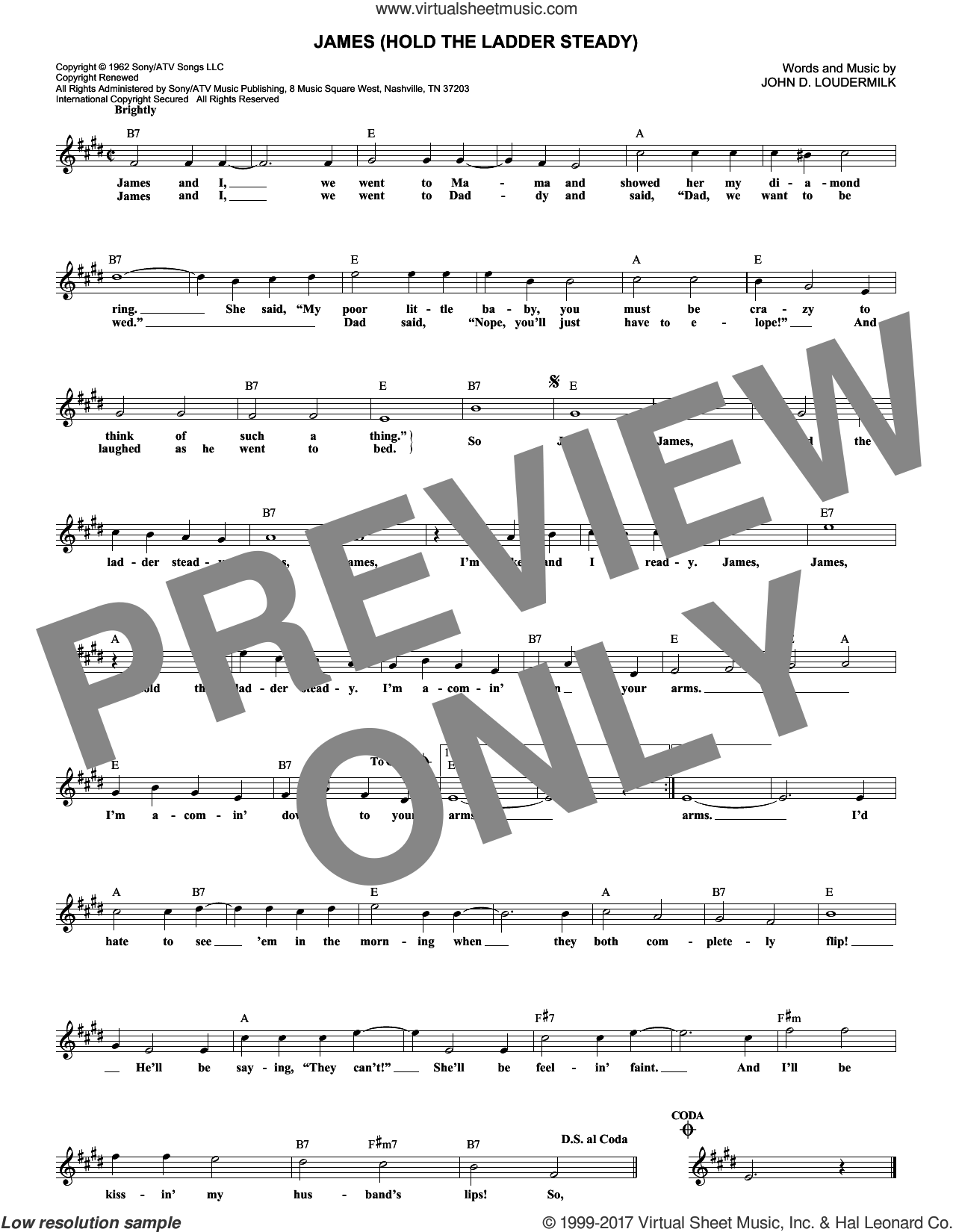 James (Hold The Ladder Steady) sheet music for voice and other instruments (fake book) by Sue Thompson and John D. Loudermilk, intermediate skill level