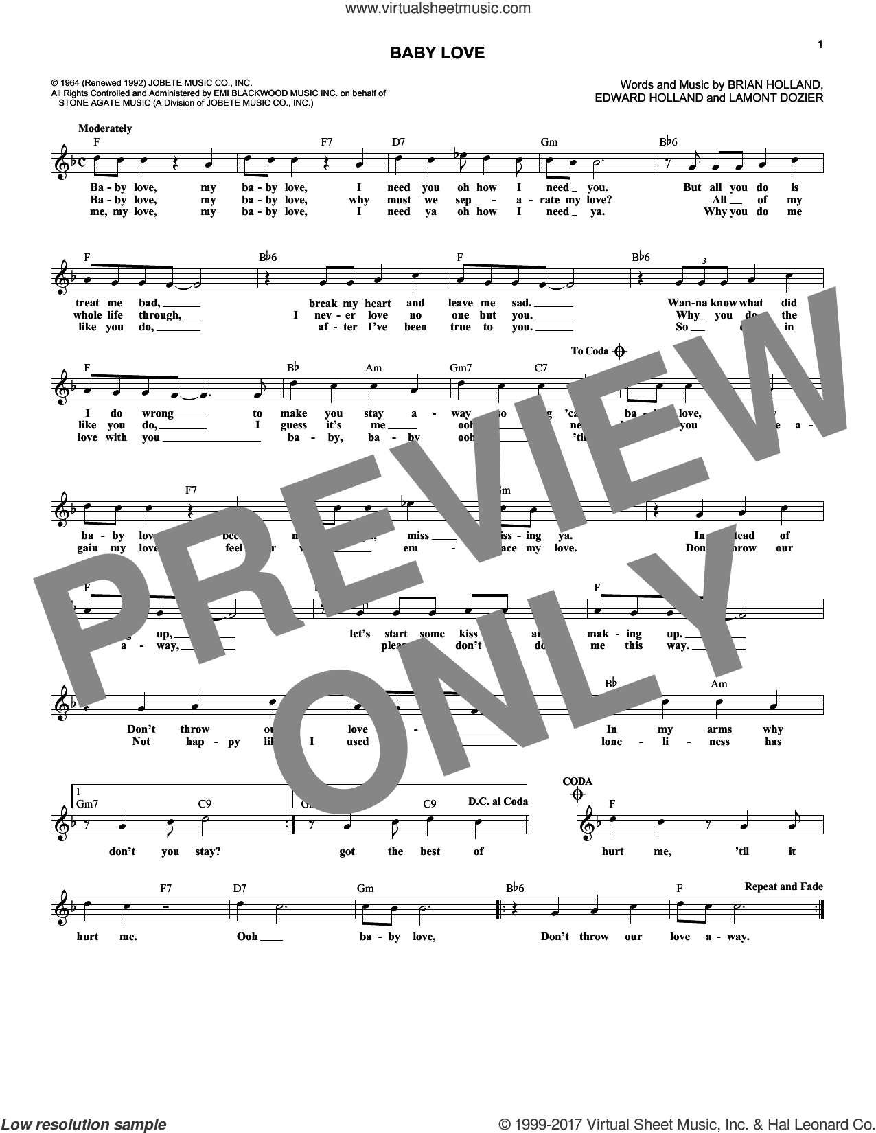 Baby Love sheet music for voice and other instruments (fake book) by The Supremes, Brian Holland, Edward Holland Jr. and Lamont Dozier, intermediate skill level
