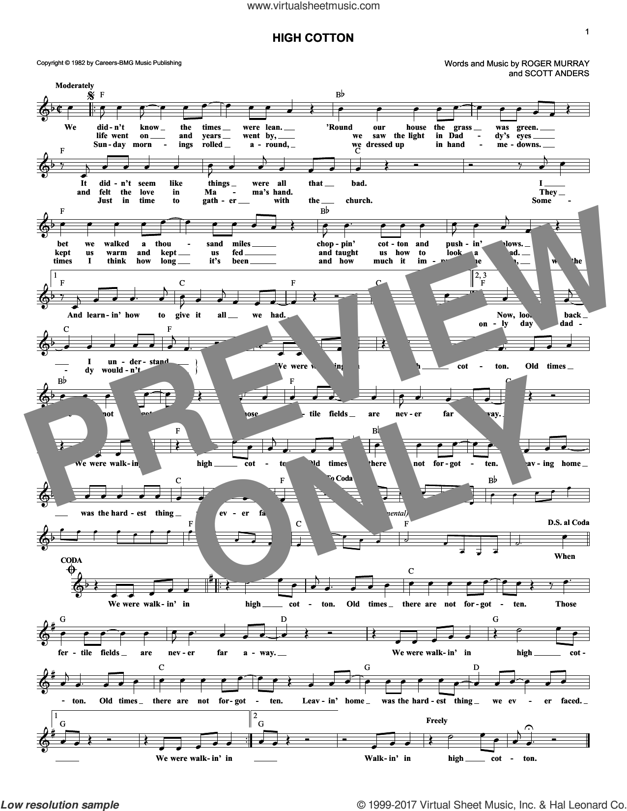 High Cotton sheet music for voice and other instruments (fake book) by Scott Anders and Alabama. Score Image Preview.