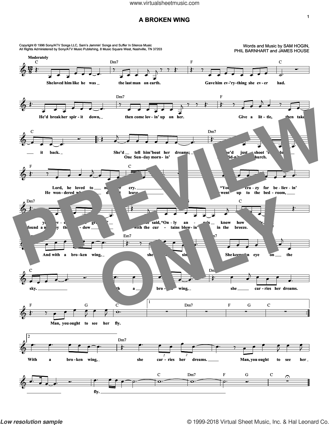 A Broken Wing sheet music for voice and other instruments (fake book) by Martina McBride, Jordin Sparks, James House, Phil Barnhart and Sam Hogin, intermediate skill level