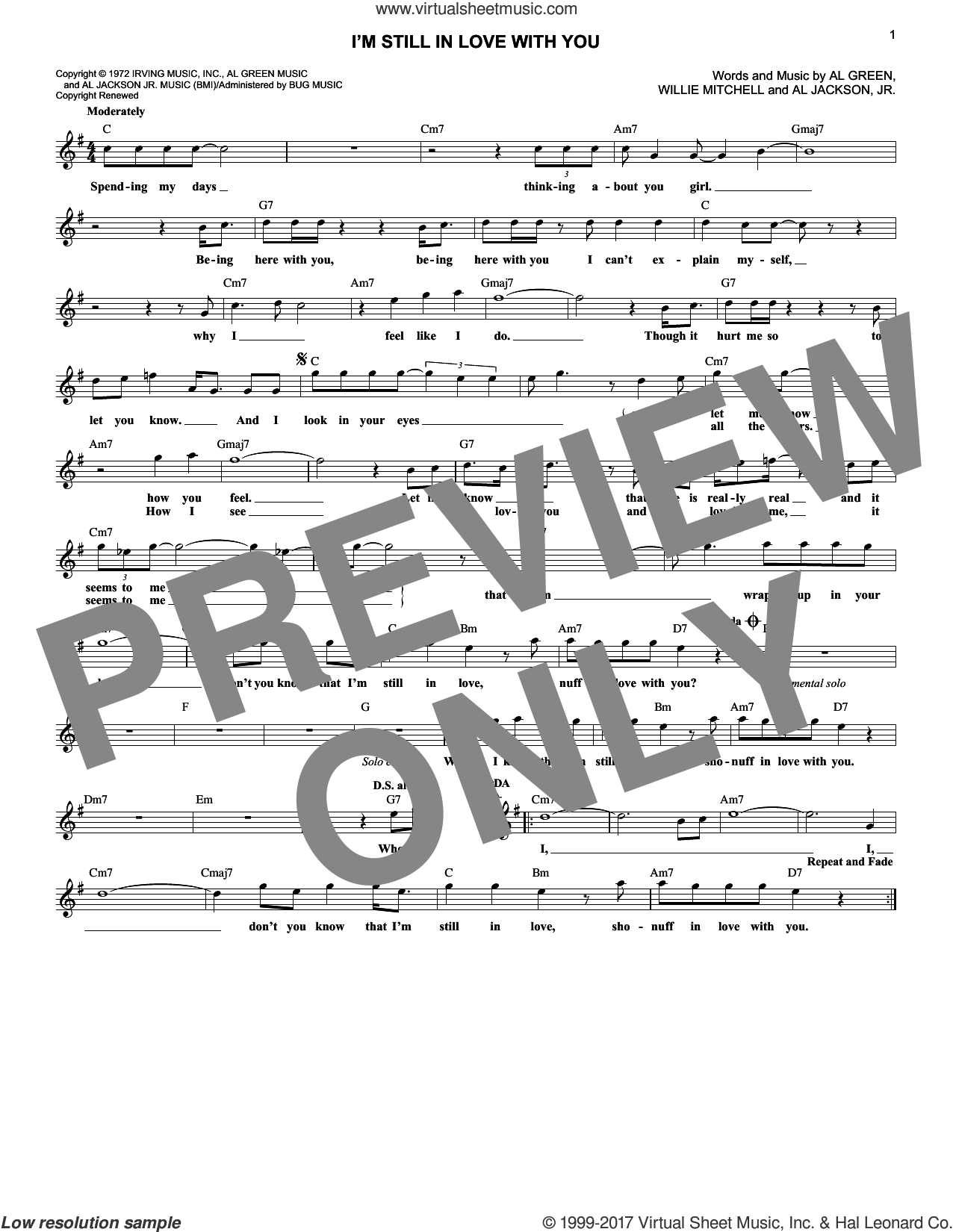 I'm Still In Love With You sheet music for voice and other instruments (fake book) by Al Green. Score Image Preview.