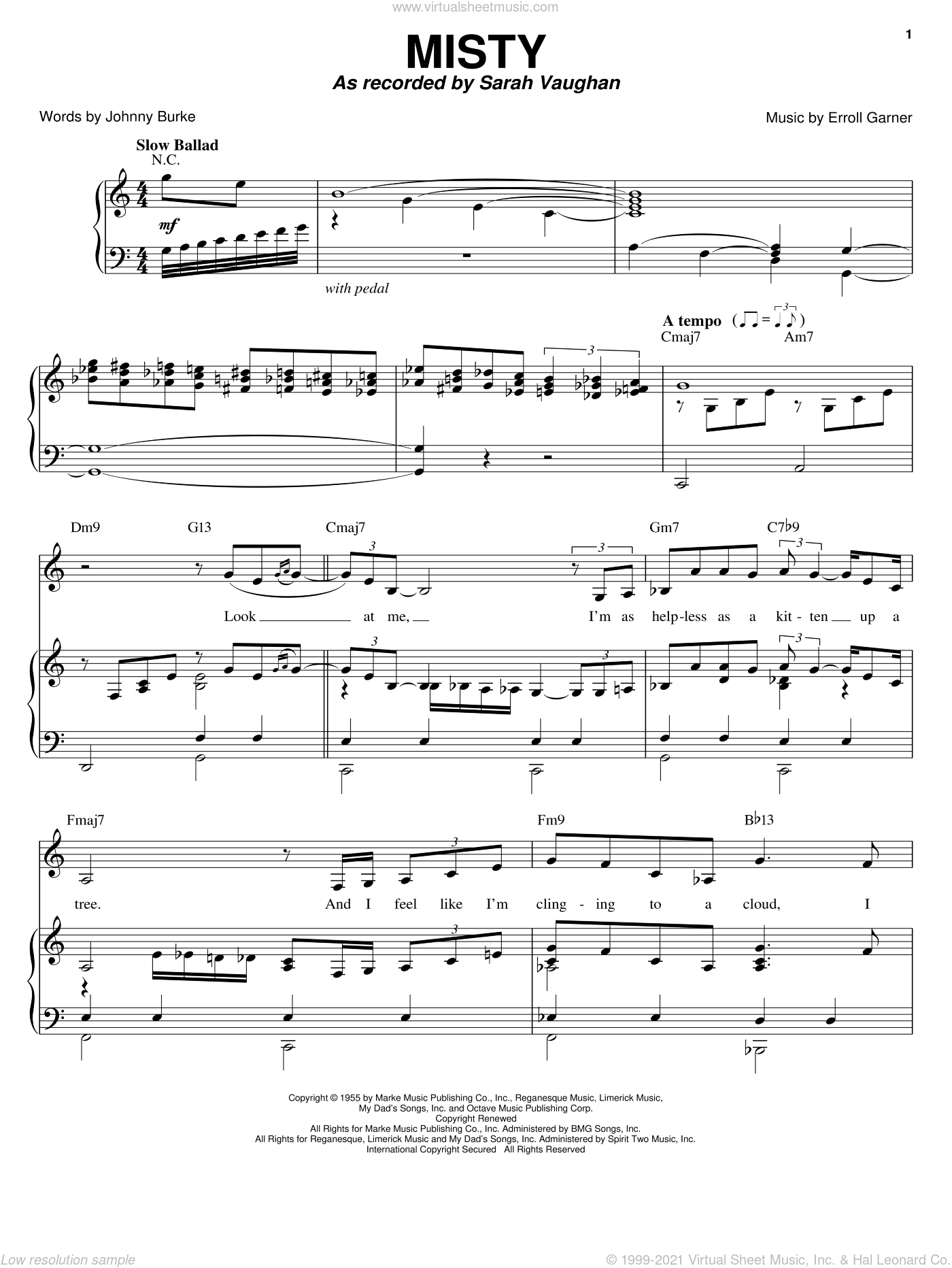 Misty sheet music for voice, piano or guitar by Sarah Vaughan, Ella Fitzgerald, Johnny Mathis, Kenny Rogers, Ray Stevens, Stephane Grappelli, Erroll Garner and John Burke, intermediate skill level
