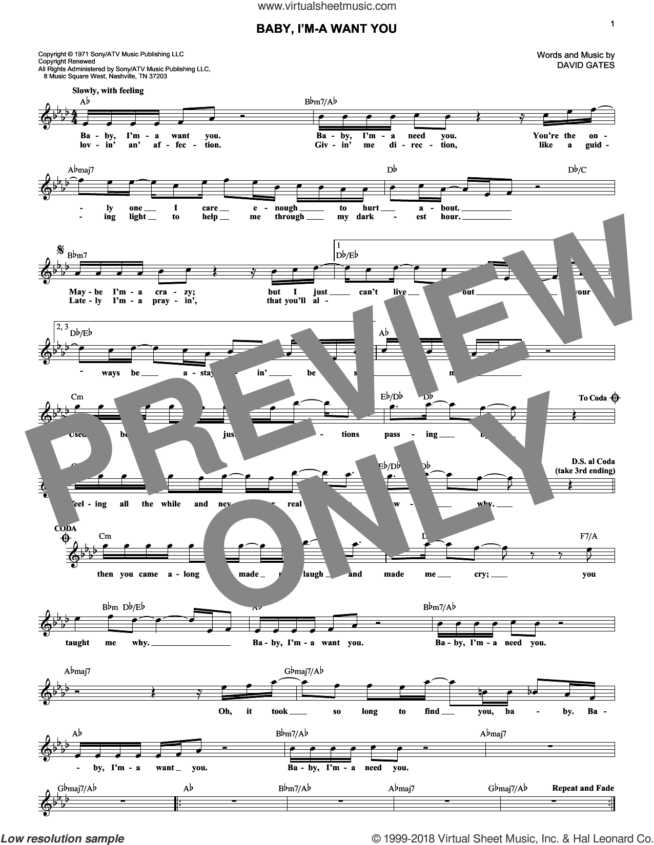 Baby, I'm-A Want You sheet music for voice and other instruments (fake book) by Bread and David Gates, intermediate skill level