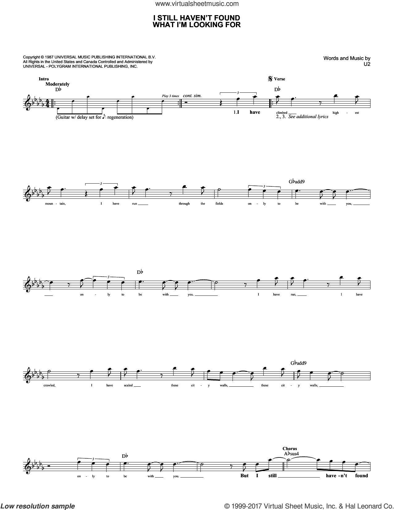 I Still Haven't Found What I'm Looking For sheet music for voice and other instruments (fake book) by U2 and David Cook, intermediate skill level