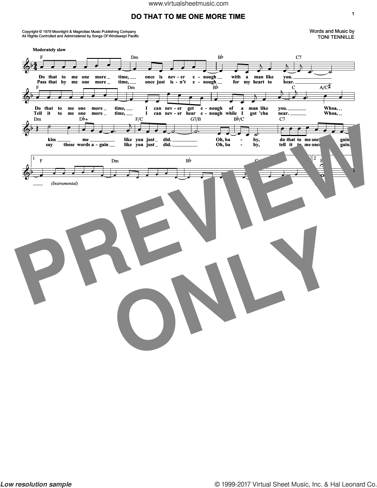 Do That To Me One More Time sheet music for voice and other instruments (fake book) by Captain & Tennille. Score Image Preview.