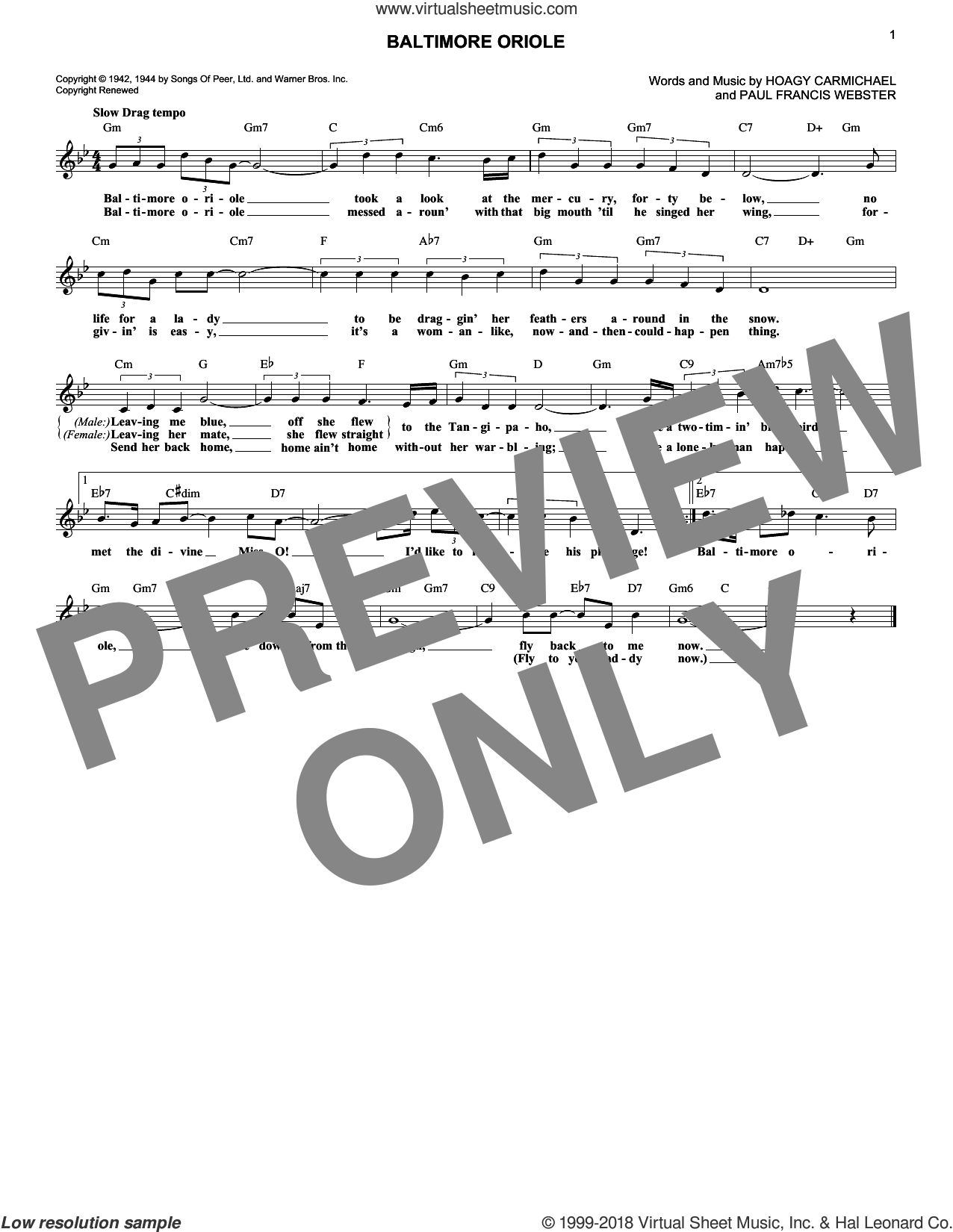 Baltimore Oriole sheet music for voice and other instruments (fake book) by Hoagy Carmichael and Paul Francis Webster, intermediate skill level