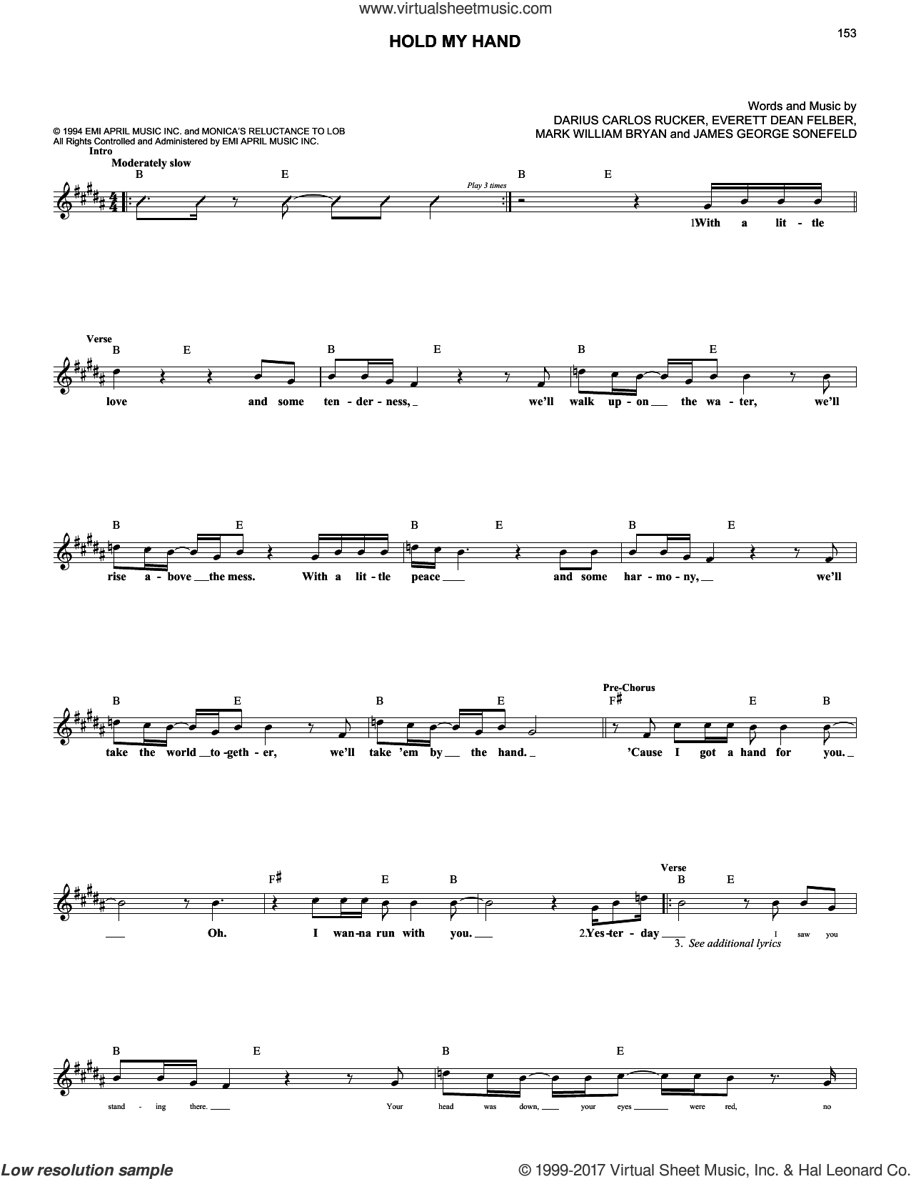 Hold My Hand sheet music for voice and other instruments (fake book) by Hootie & The Blowfish, Darius Carlos Rucker, Everett Dean Felber, James George Sonefeld and Mark William Bryan, intermediate skill level