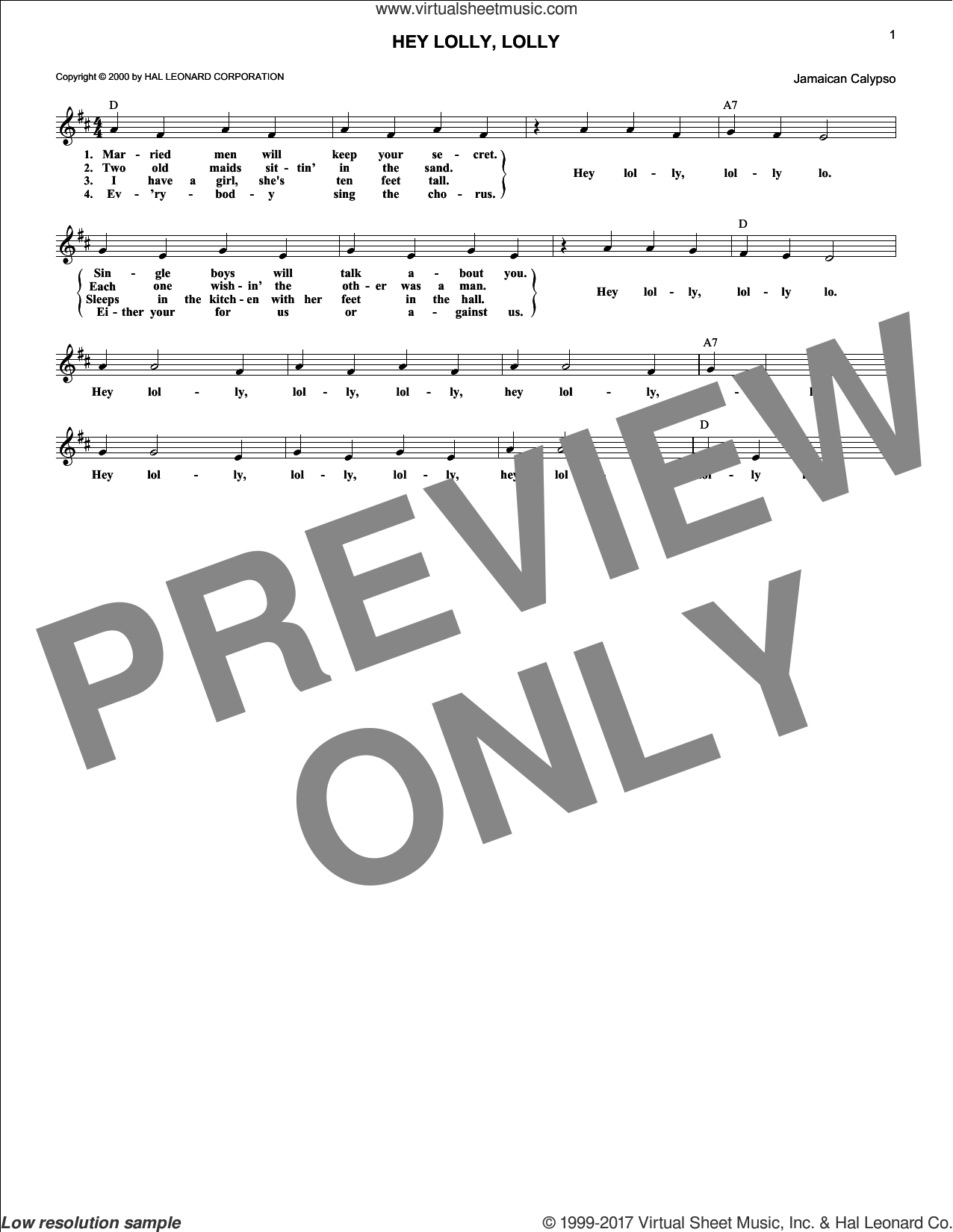 Hey Lolly, Lolly sheet music for voice and other instruments (fake book) by Traditional Calypso Song, intermediate skill level