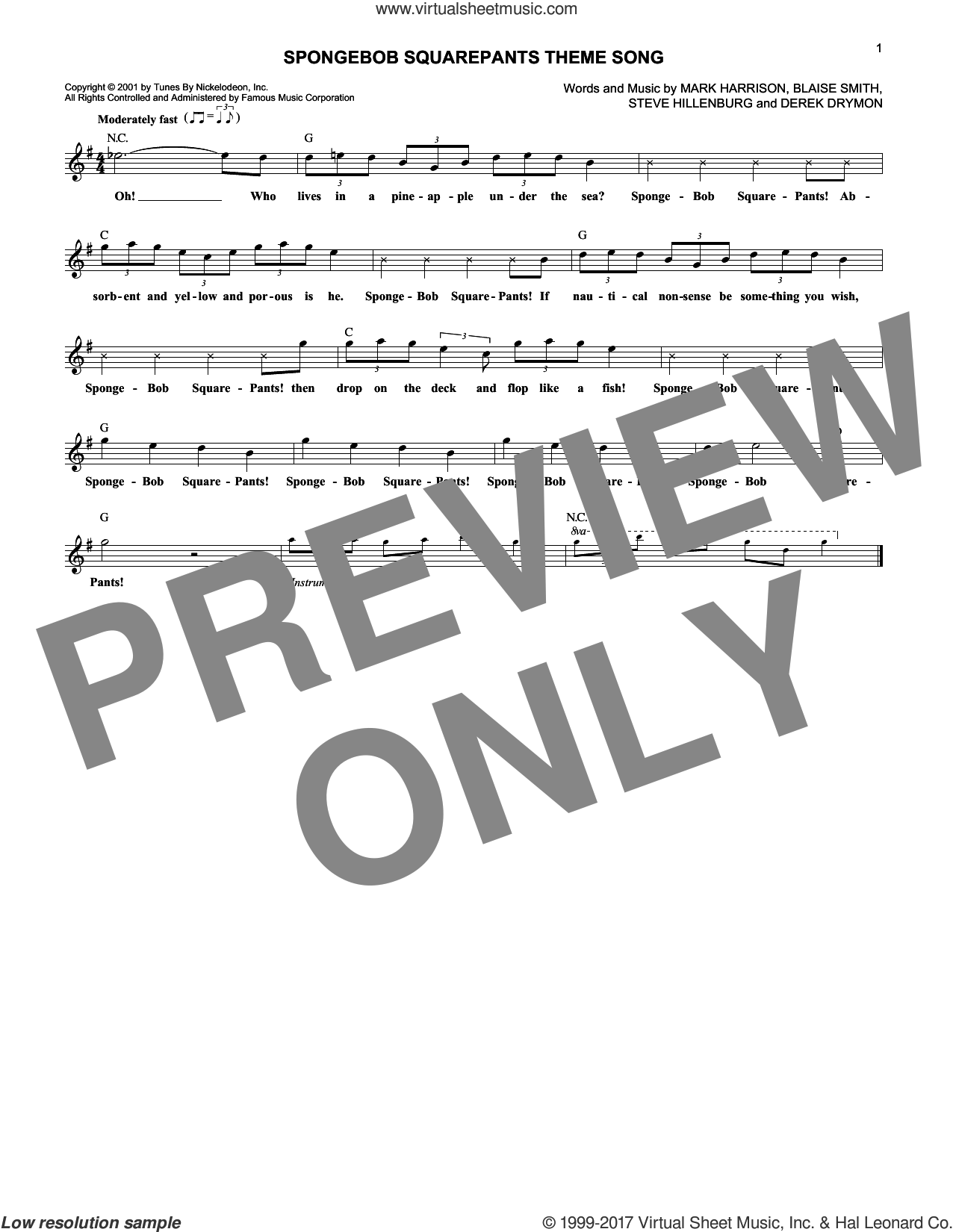 SpongeBob SquarePants Theme Song sheet music for voice and other instruments (fake book) by Blaise Smith, Mark Harrison and Steve Hillenburg. Score Image Preview.