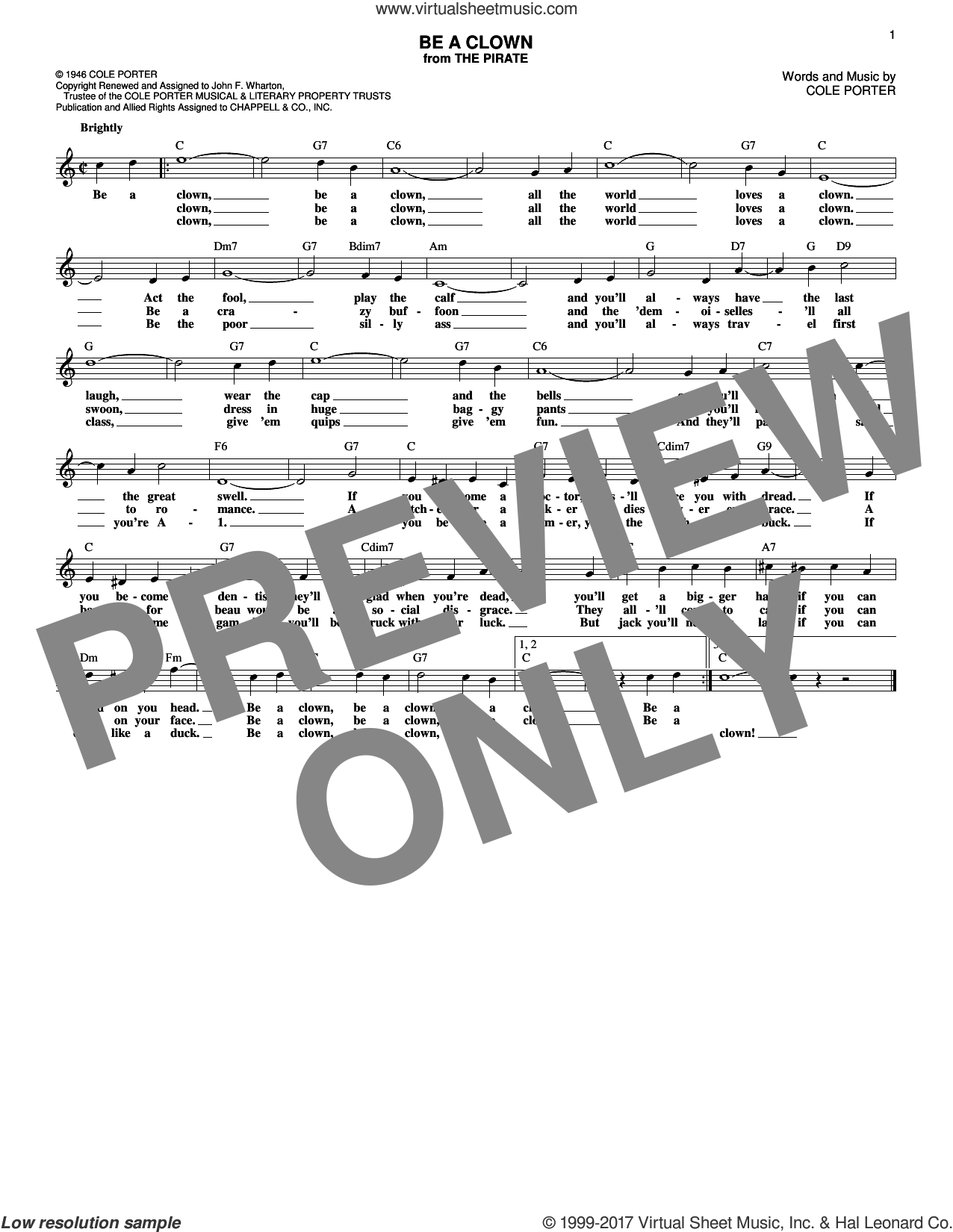Be A Clown sheet music for voice and other instruments (fake book) by Cole Porter, intermediate. Score Image Preview.