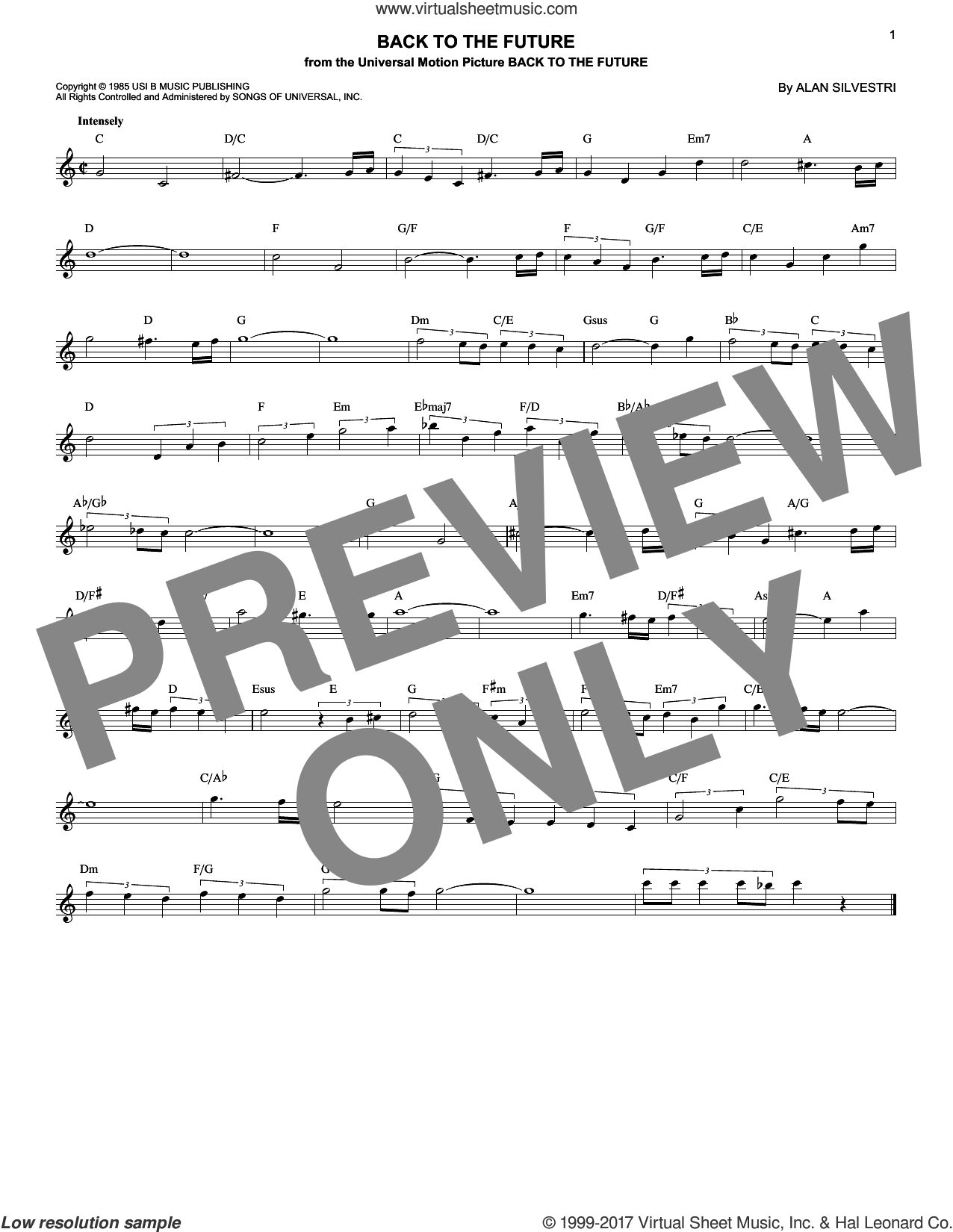Back To The Future sheet music for voice and other instruments (fake book) by Alan Silvestri, intermediate skill level