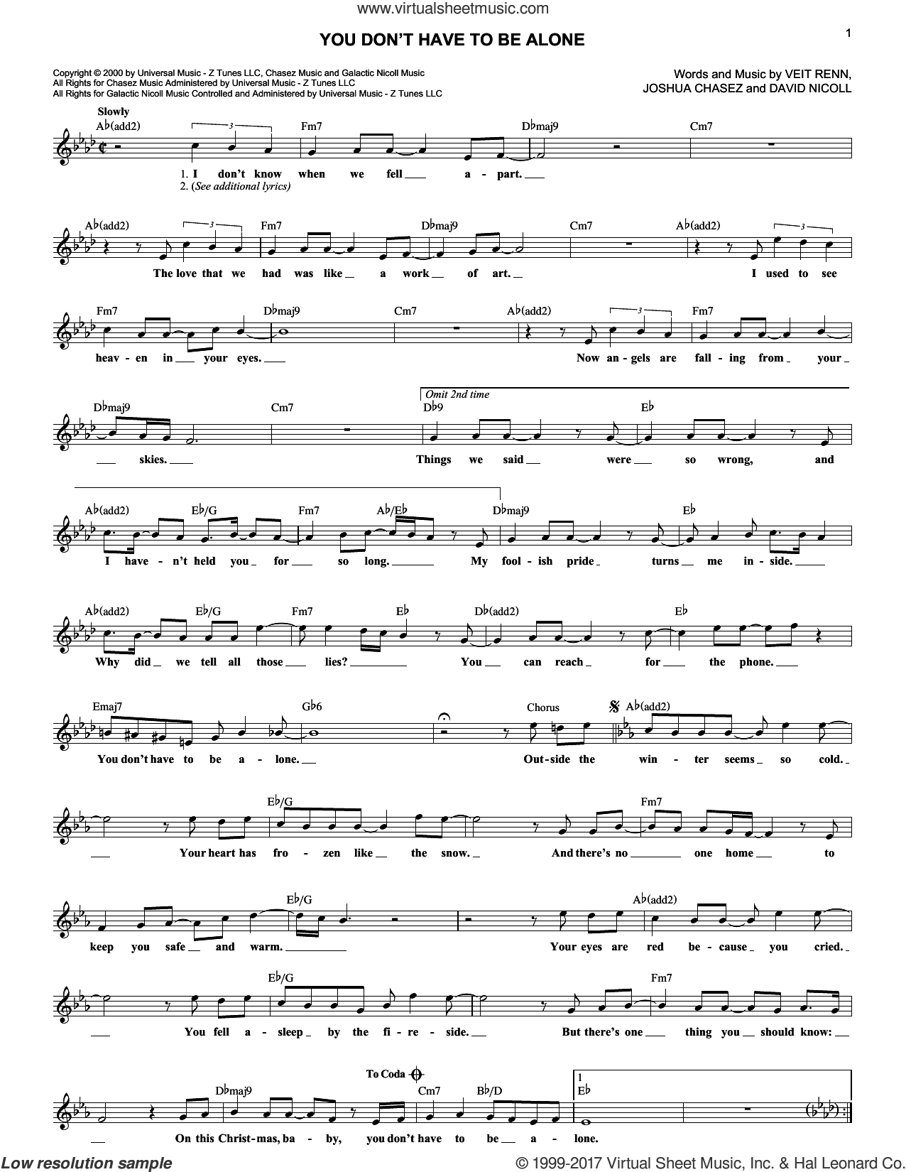 You Don't Have To Be Alone sheet music for voice and other instruments (fake book) by Veit Renn. Score Image Preview.
