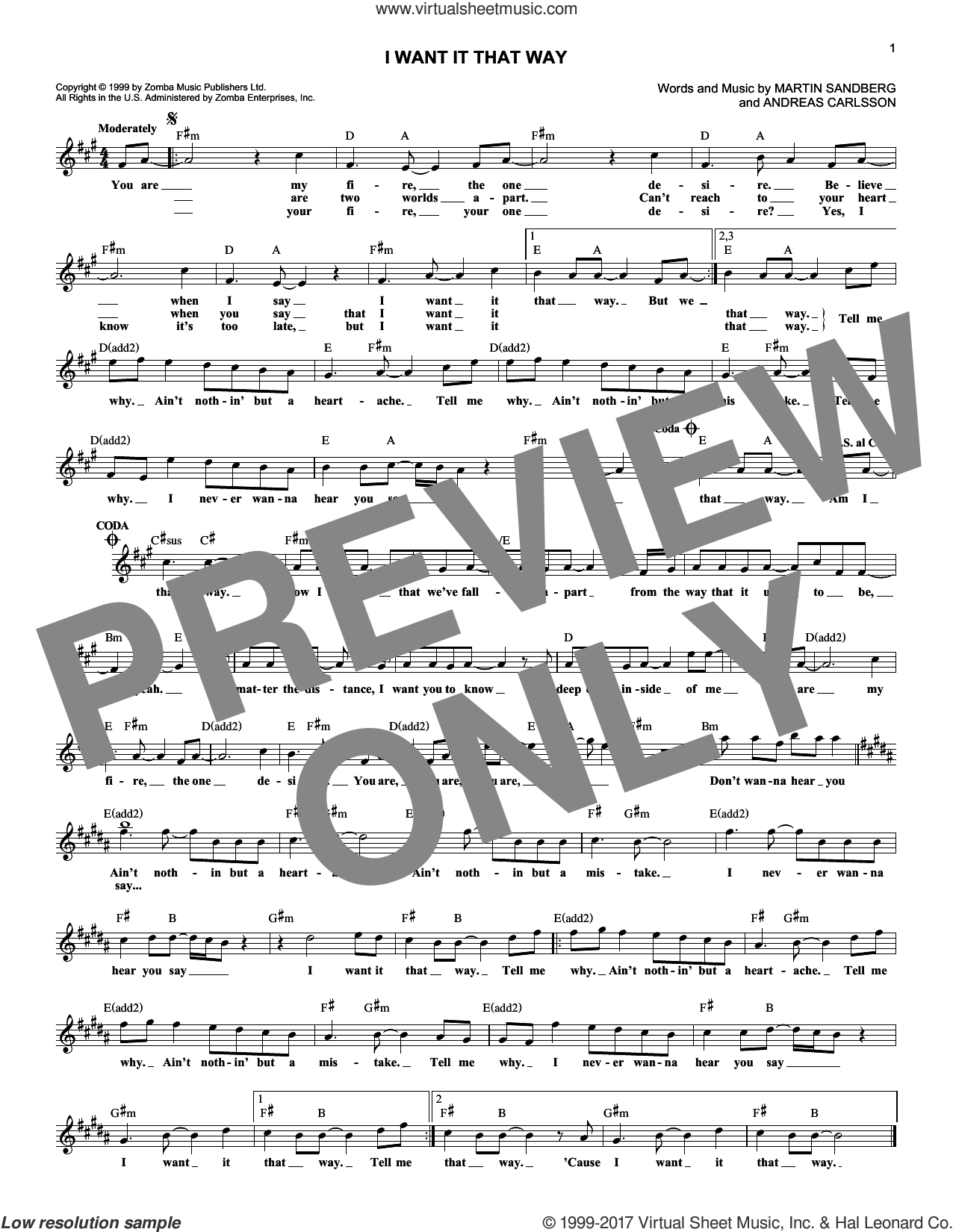 I Want It That Way sheet music for voice and other instruments (fake book) by Backstreet Boys, Andreas Carlsson and Martin Sandberg, intermediate skill level