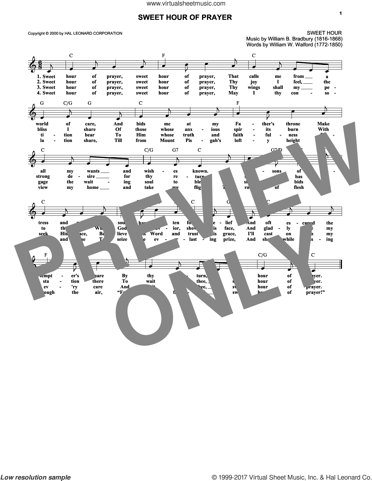 Sweet Hour Of Prayer sheet music for voice and other instruments (fake book) by William B. Bradbury and William W. Walford, intermediate skill level
