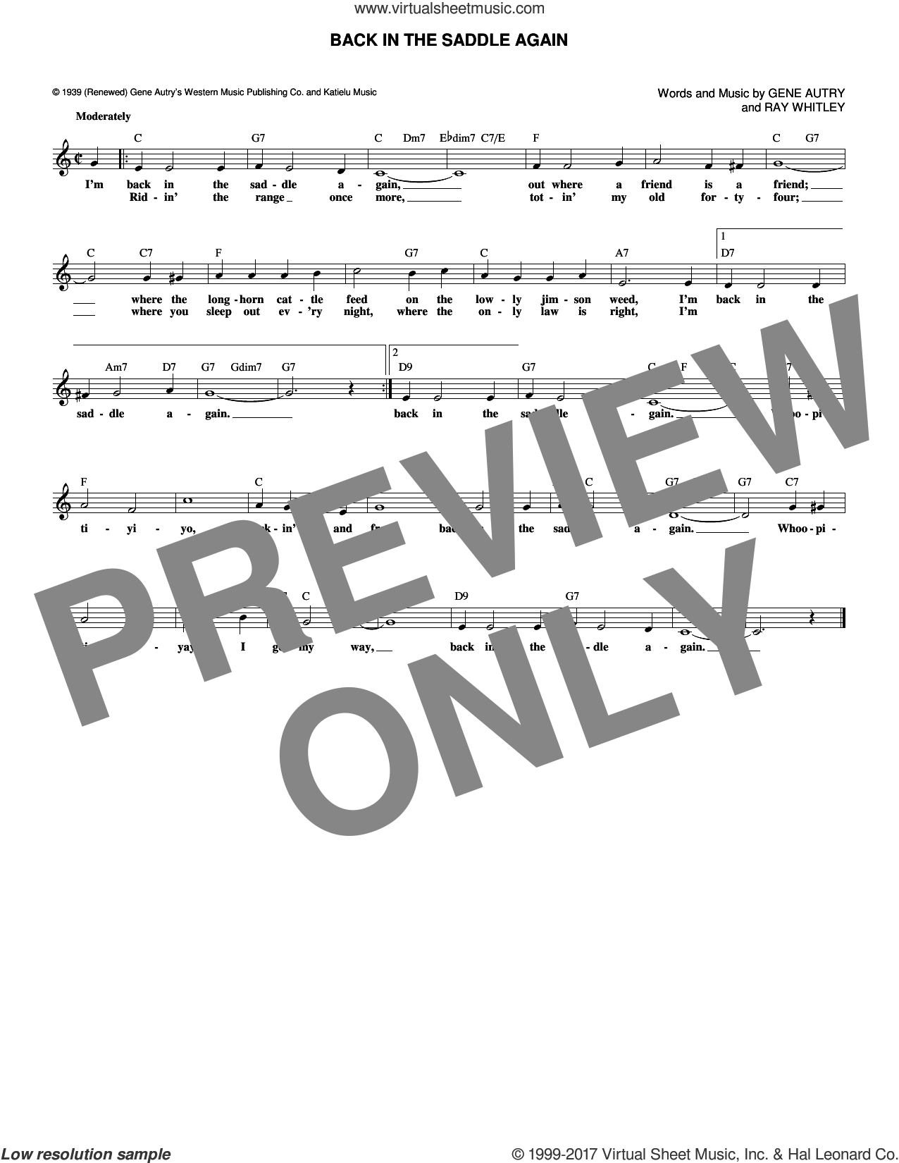 Back In The Saddle Again sheet music for voice and other instruments (fake book) by Gene Autry and Ray Whitley, intermediate skill level
