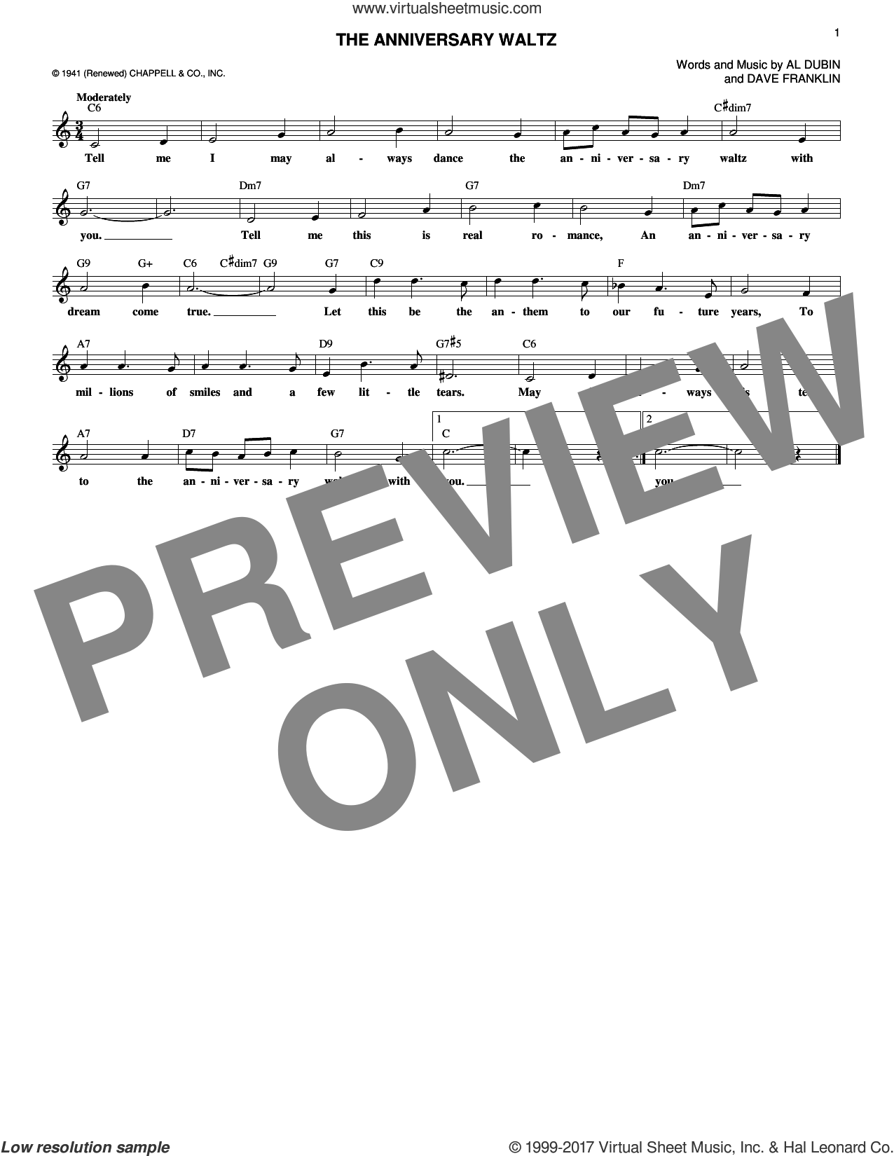 The Anniversary Waltz sheet music for voice and other instruments (fake book) by Al Dubin and Dave Franklin. Score Image Preview.