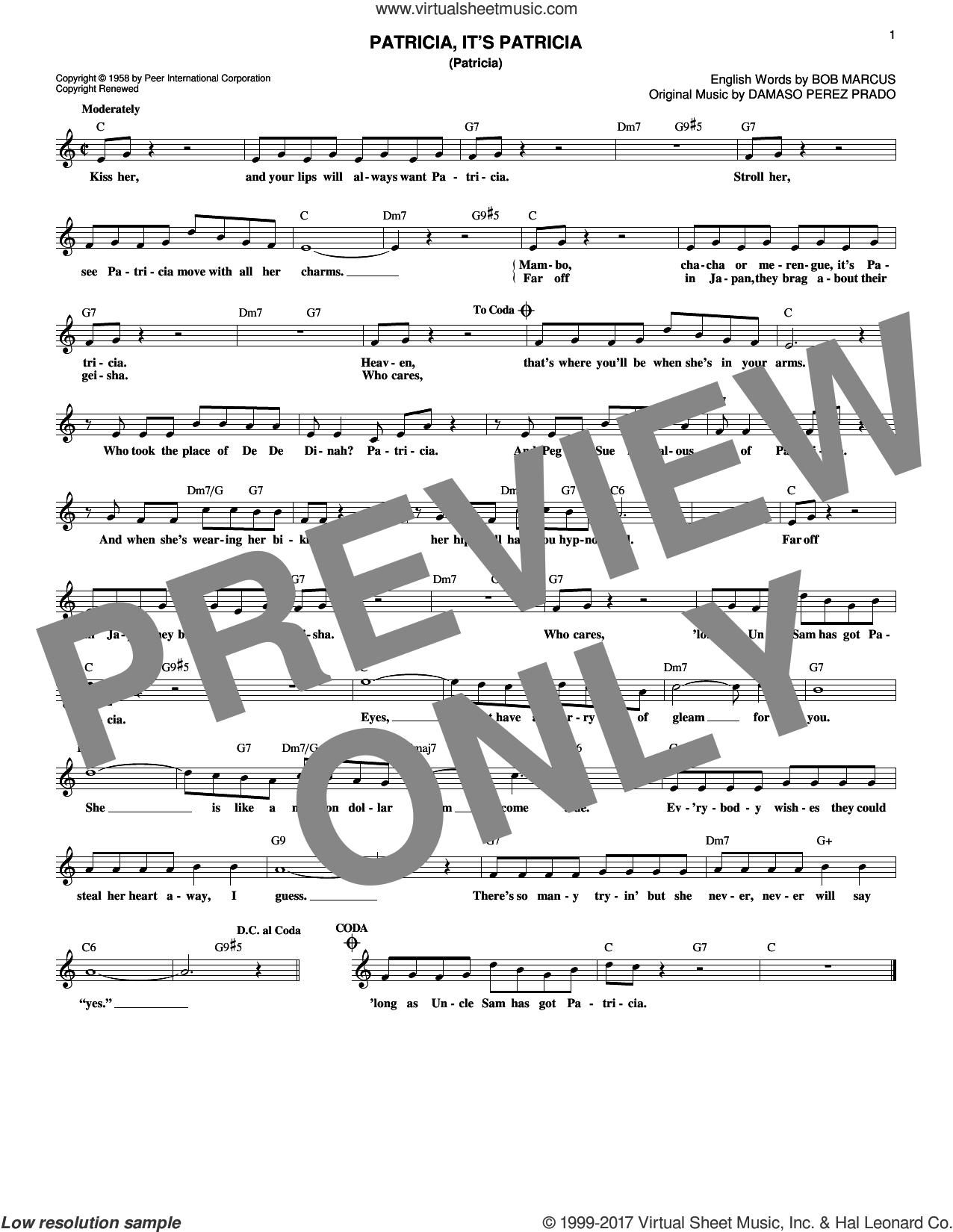 Patricia, It's Patricia (Patricia) sheet music for voice and other instruments (fake book) by Damaso Perez Prado, Perez Prado and Bob Marcus, intermediate skill level