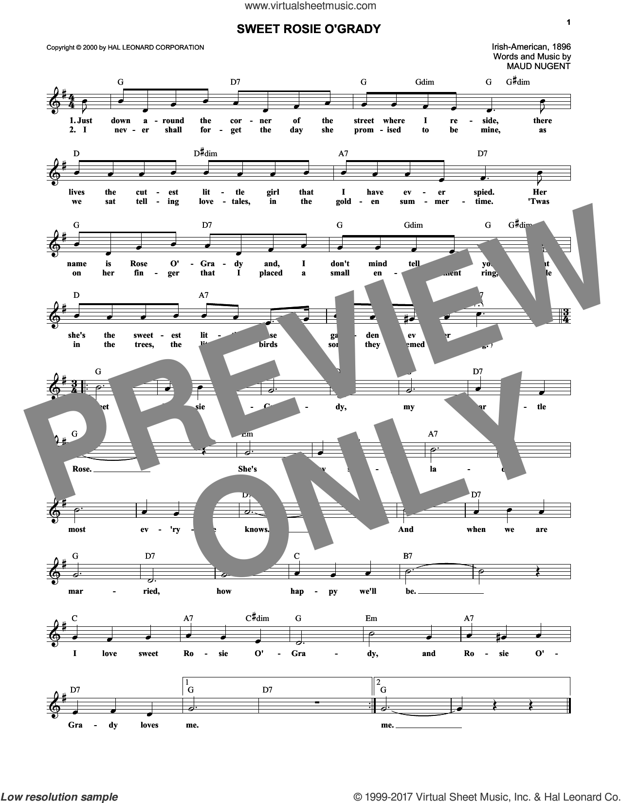 Sweet Rosie O'Grady sheet music for voice and other instruments (fake book) by Maude Nugent, intermediate skill level