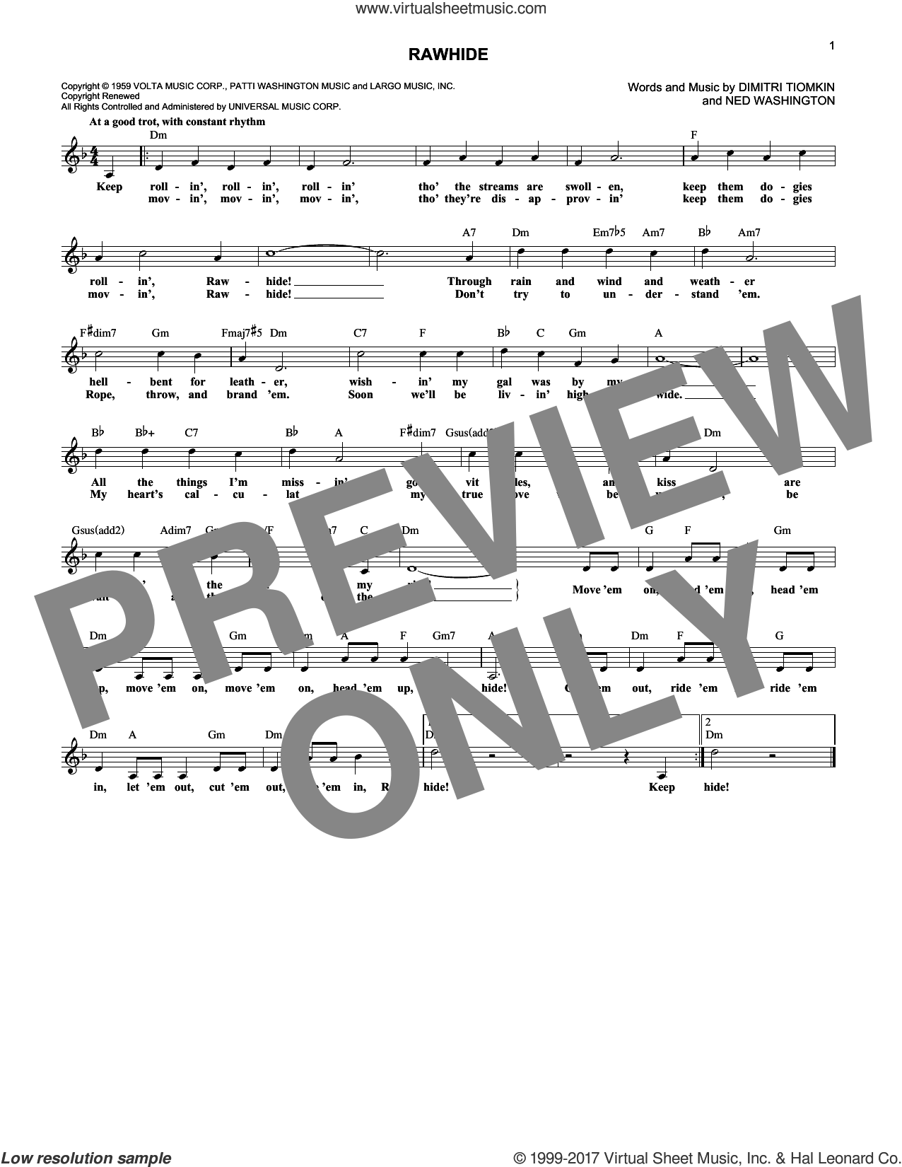 Rawhide sheet music for voice and other instruments (fake book) by Dimitri Tiomkin and Ned Washington, intermediate skill level
