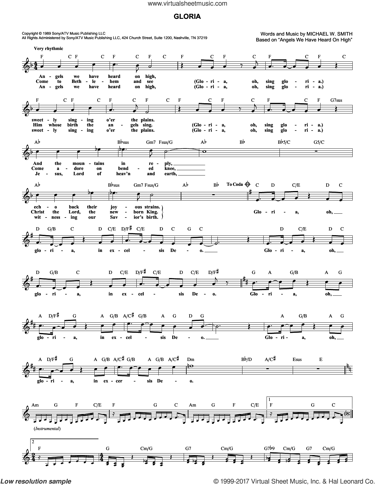 Gloria sheet music for voice and other instruments (fake book) by Michael W. Smith, intermediate. Score Image Preview.