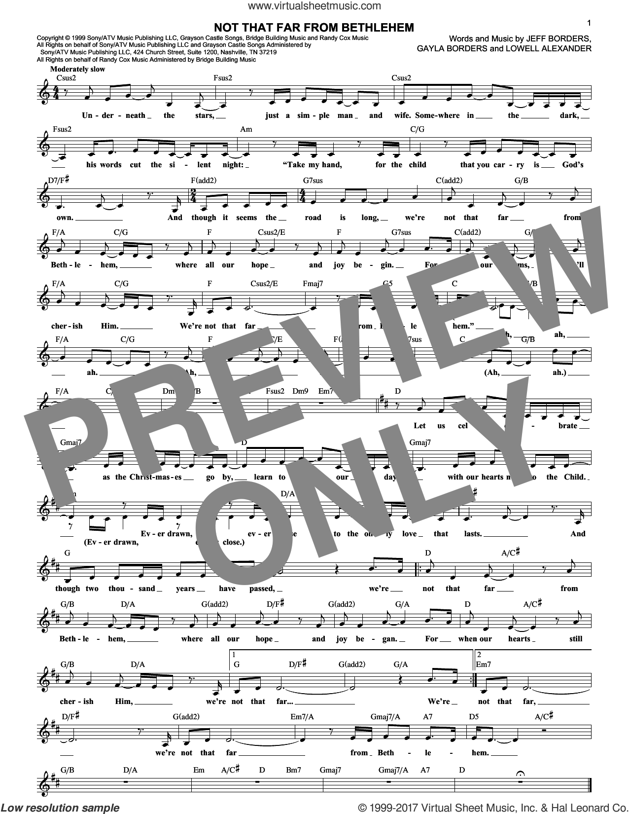 Not That Far From Bethlehem sheet music for voice and other instruments (fake book) by Lowell Alexander and Gayla Borders. Score Image Preview.