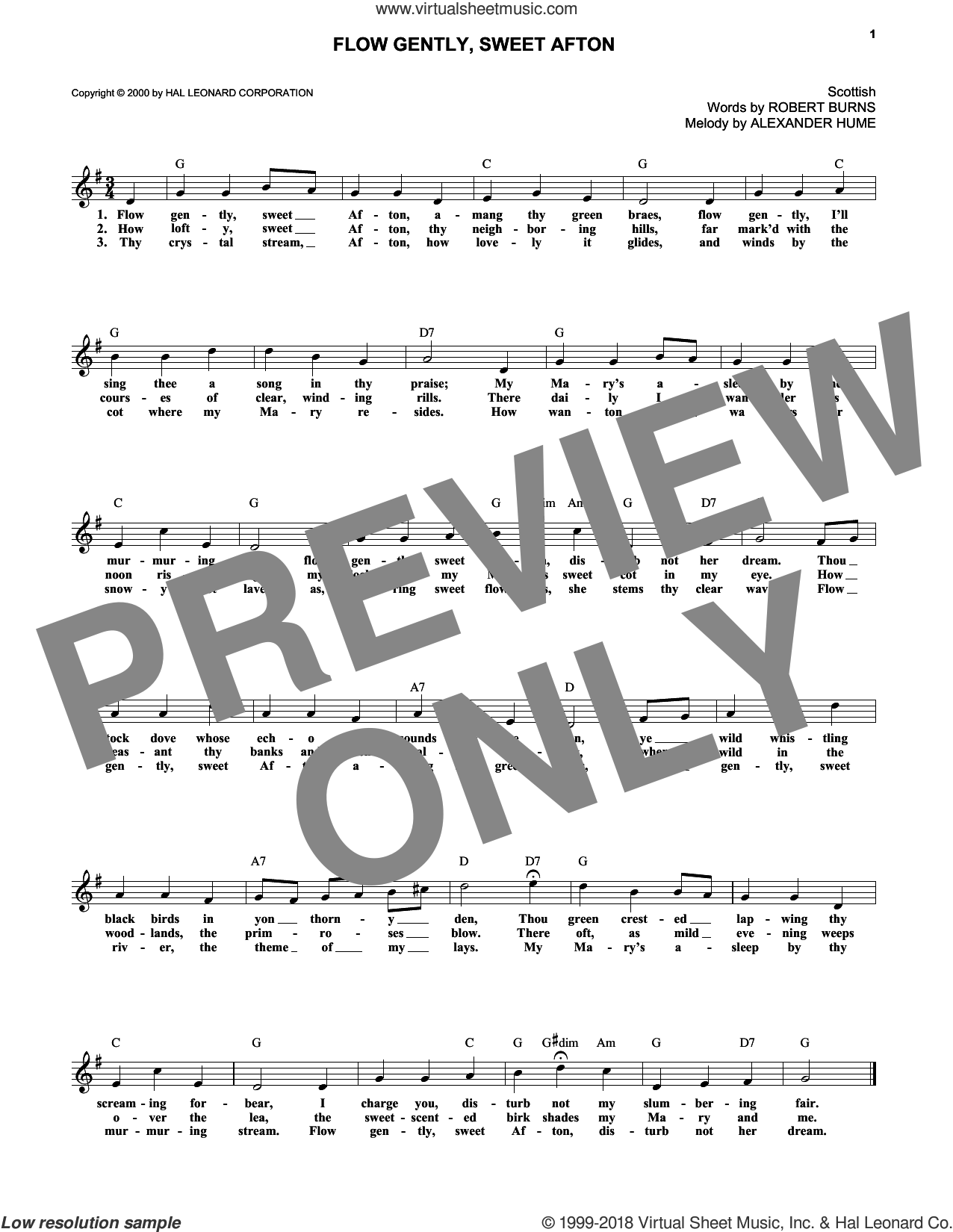 Flow Gently, Sweet Afton sheet music for voice and other instruments (fake book) by Alexander Hume and Robert Burns, intermediate skill level