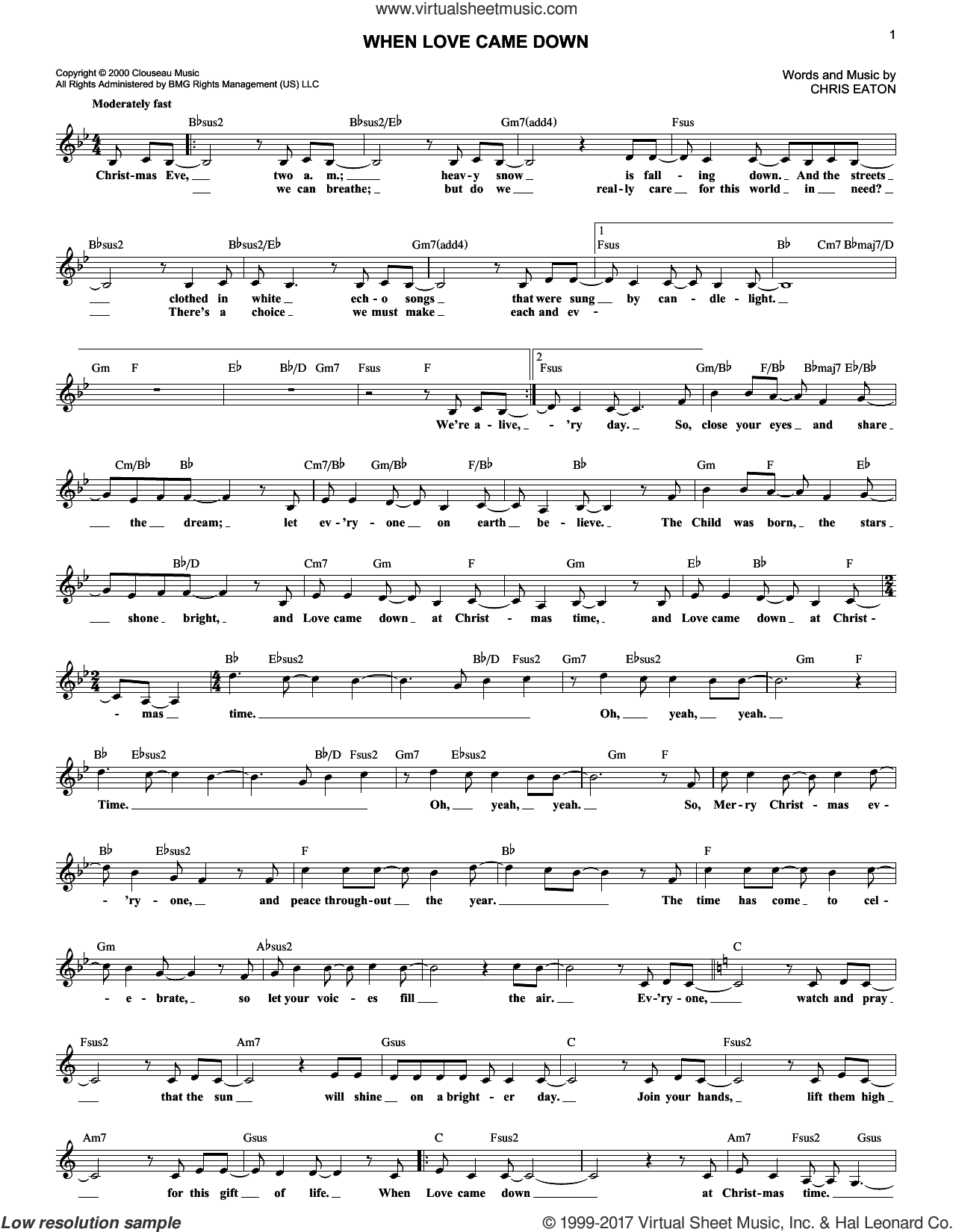 When Love Came Down sheet music for voice and other instruments (fake book) by Point Of Grace and Chris Eaton. Score Image Preview.