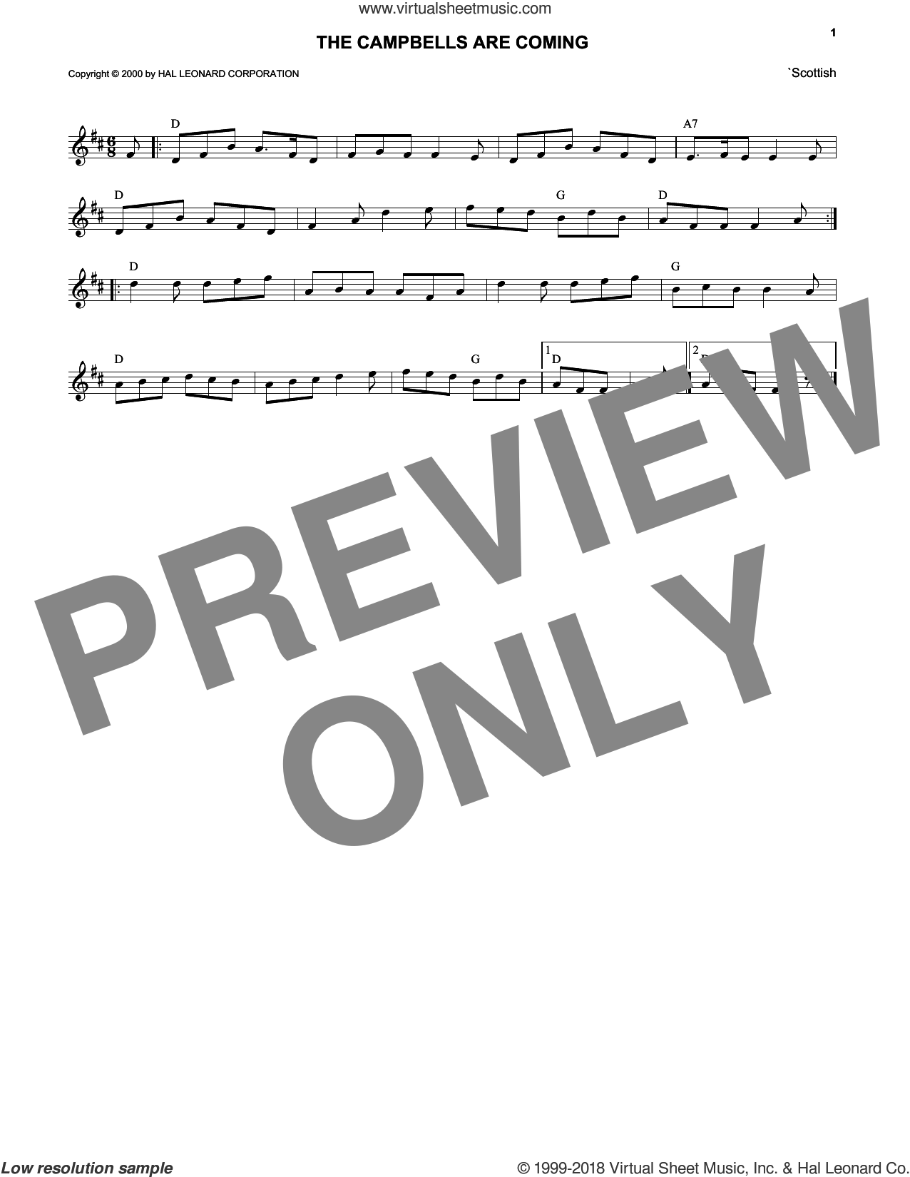 The Campbells Are Coming sheet music for voice and other instruments (fake book), intermediate