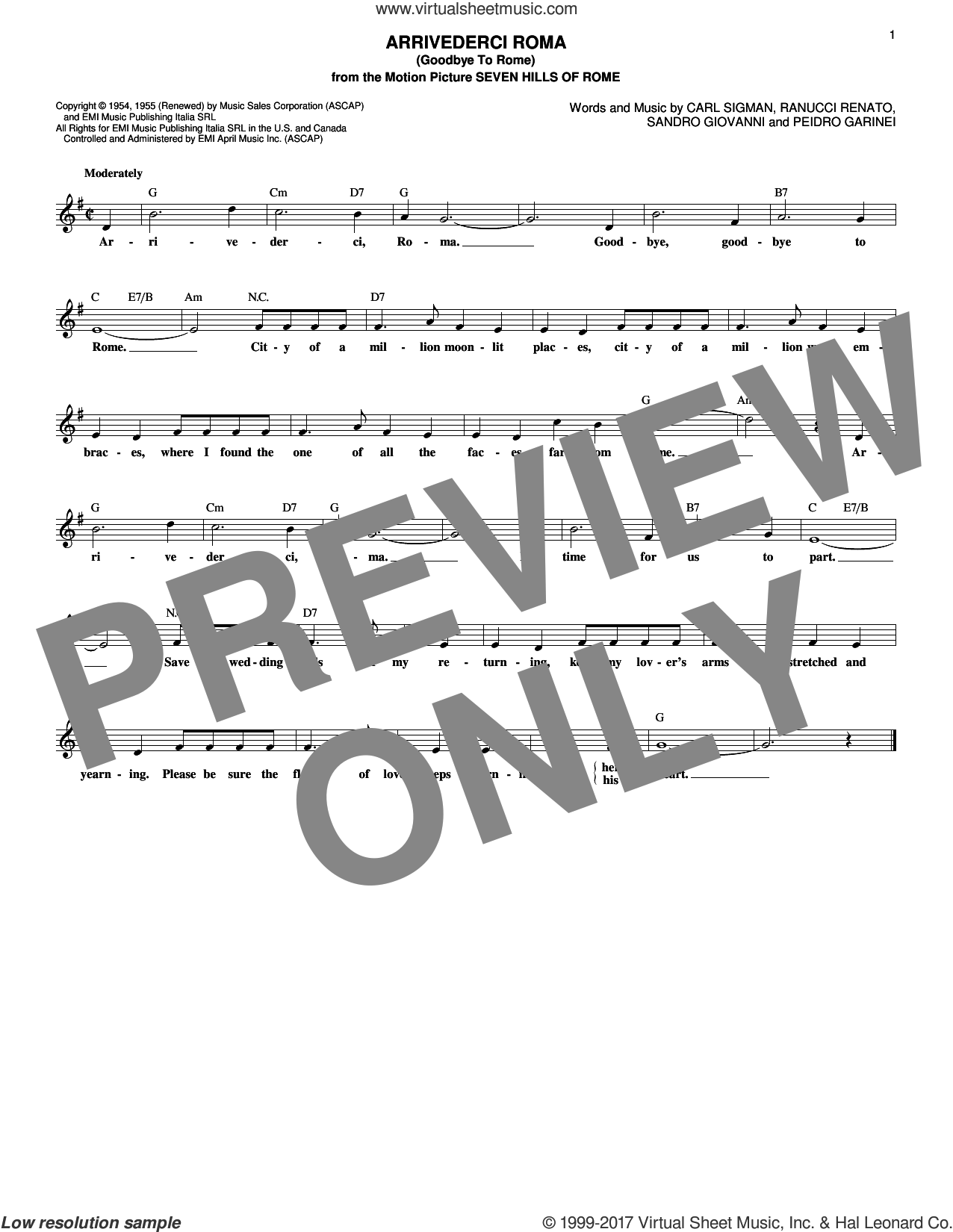 Arrivederci Roma (Goodbye To Rome) sheet music for voice and other instruments (fake book) by Carl Sigman, Georgia Gibbs, Mario Lanza, Roger Williams, Pietro Garinei, Renato Rascel and Sandro Giovannini, intermediate skill level