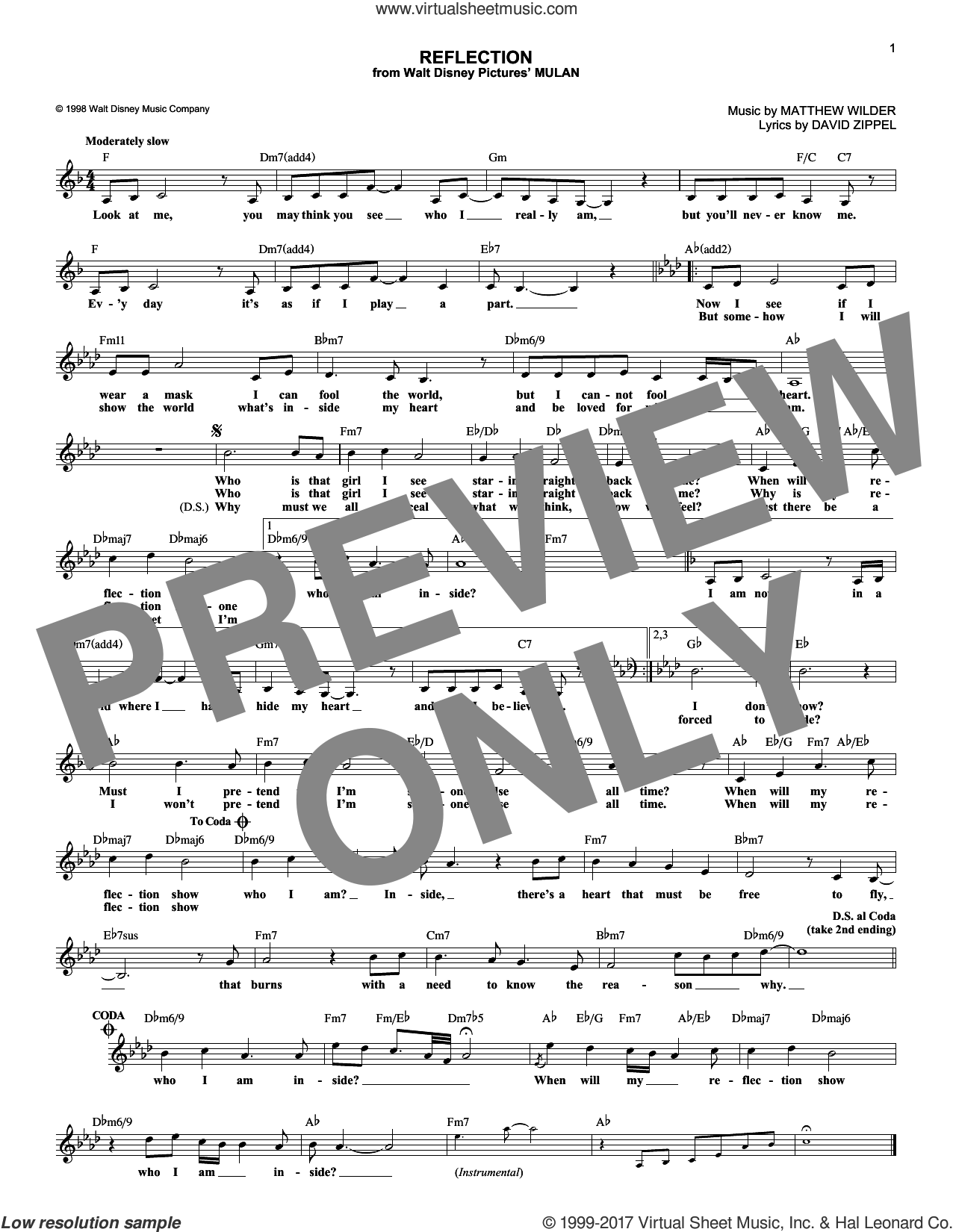 Reflection (from Mulan) sheet music for voice and other instruments (fake book) by Christina Aguilera, David Zippel and Matthew Wilder, intermediate skill level