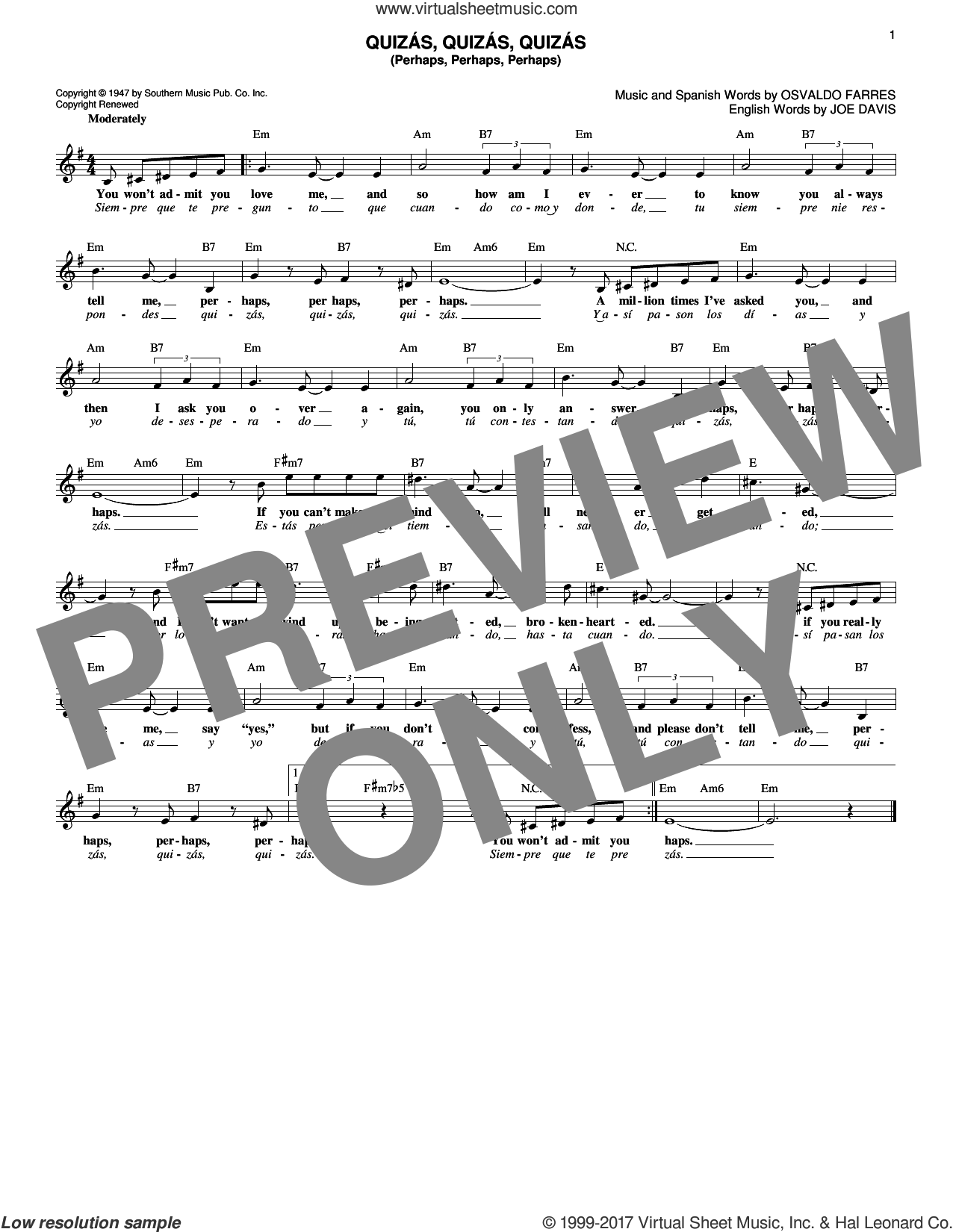 Quizas, Quizas, Quizas (Perhaps, Perhaps, Perhaps) sheet music for voice and other instruments (fake book) by Joe Davis and Osvaldo Farres. Score Image Preview.