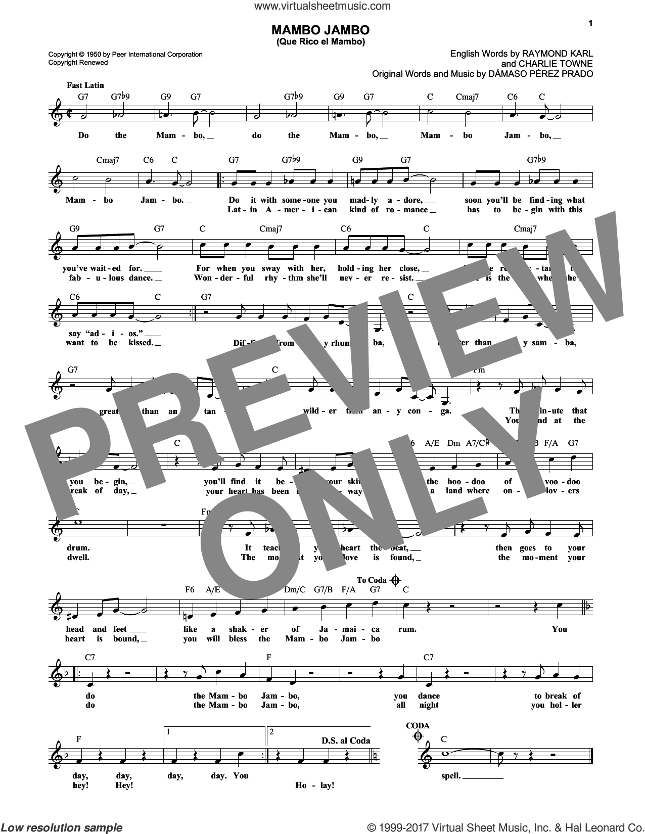 Mambo Jambo (Que Rico El Mambo) sheet music for voice and other instruments (fake book) by Raymond Karl, Dave Barbour and Damaso Perez Prado. Score Image Preview.