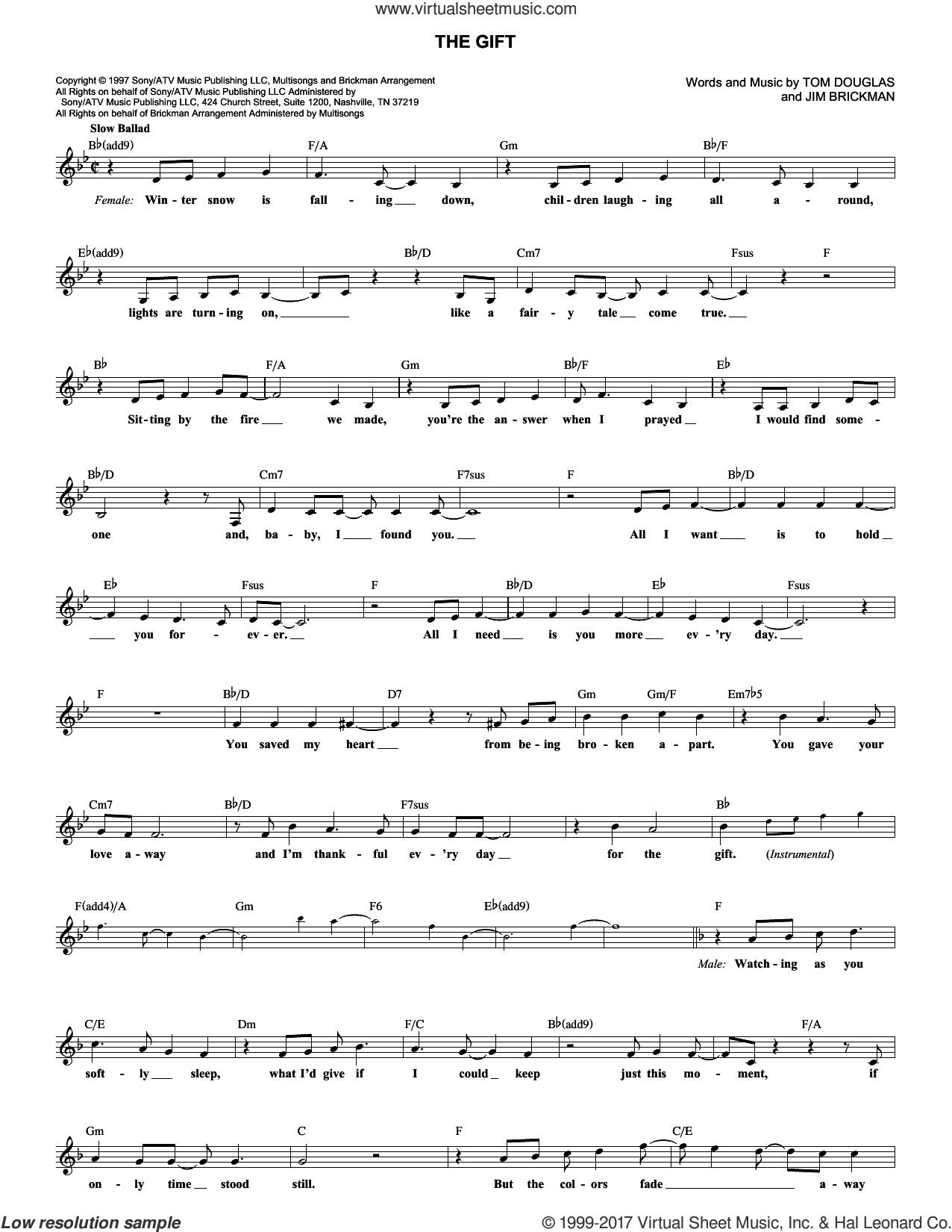 The Gift sheet music for voice and other instruments (fake book) by Jim Brickman, Collin Raye and Tom Douglas, intermediate skill level