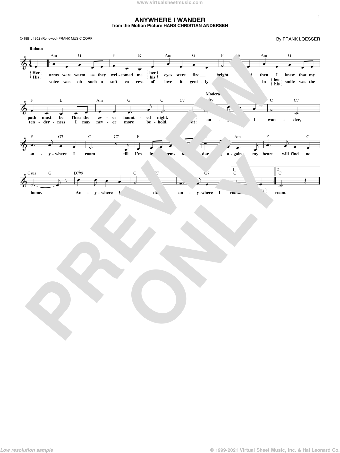Anywhere I Wander sheet music for voice and other instruments (fake book) by Frank Loesser, intermediate skill level