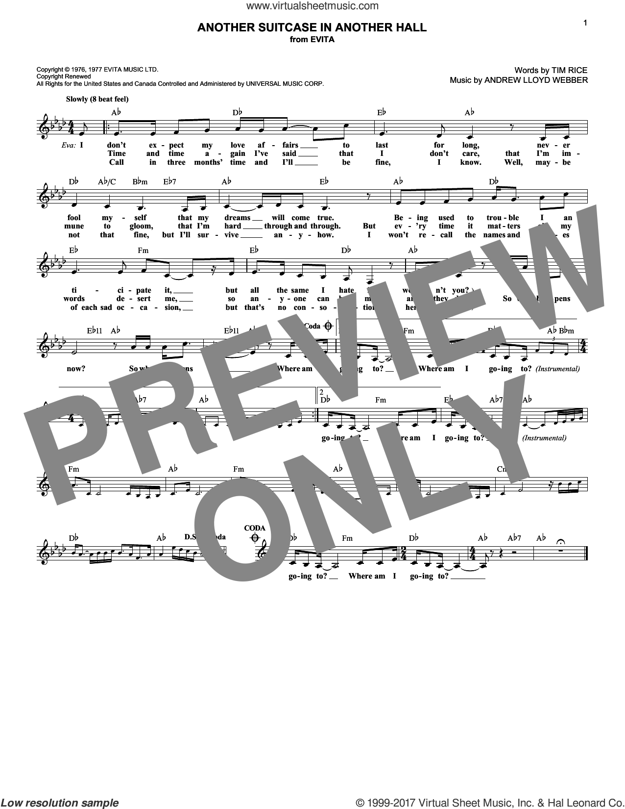 Another Suitcase In Another Hall sheet music for voice and other instruments (fake book) by Andrew Lloyd Webber and Tim Rice, intermediate skill level