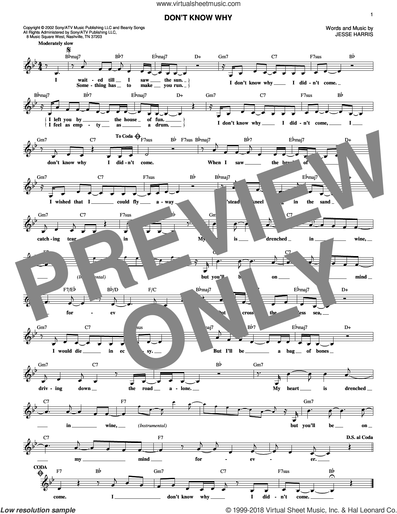 Don't Know Why sheet music for voice and other instruments (fake book) by Norah Jones and Jesse Harris, intermediate skill level