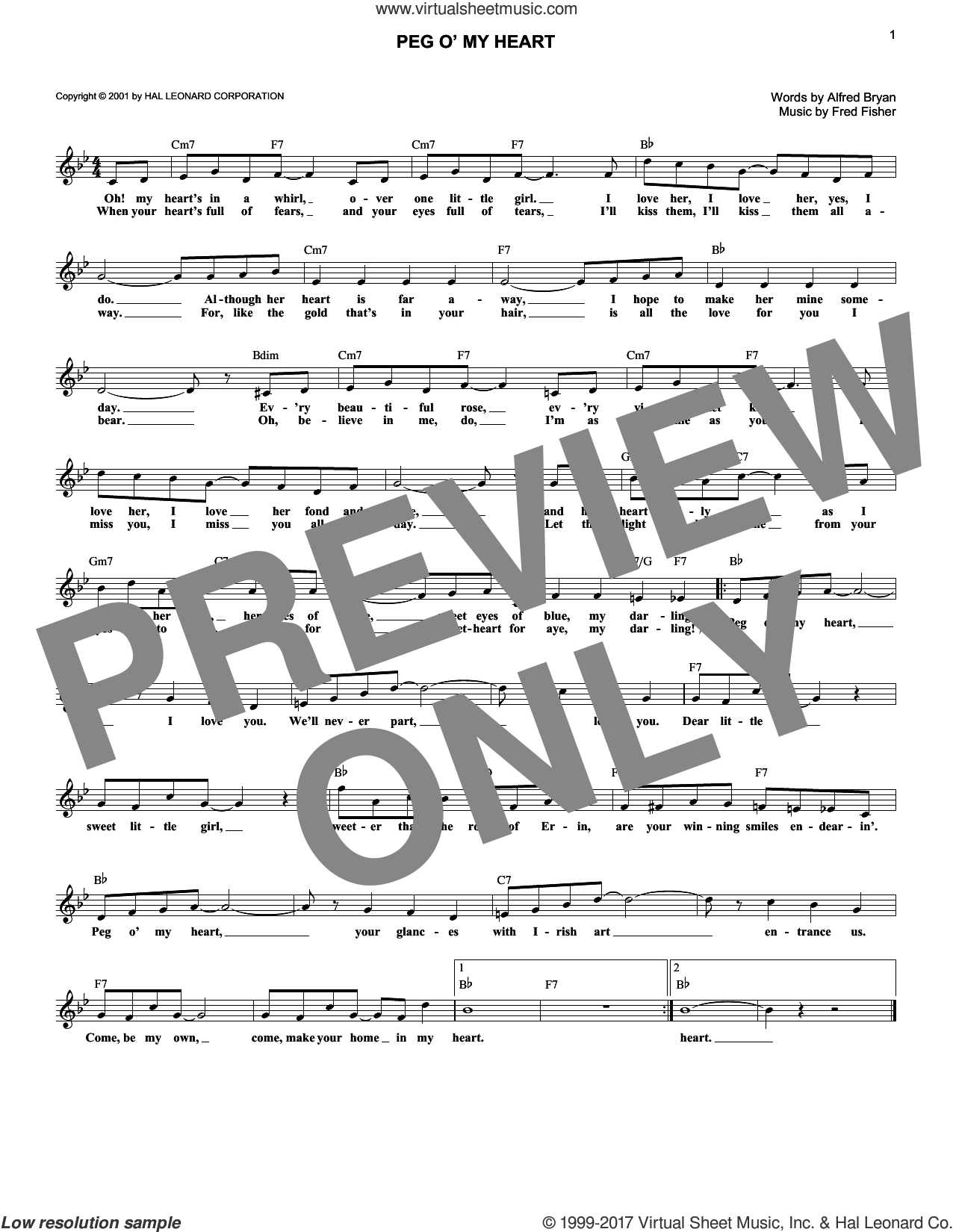 Peg O' My Heart sheet music for voice and other instruments (fake book) by Alfred Bryan and Fred Fisher, intermediate skill level
