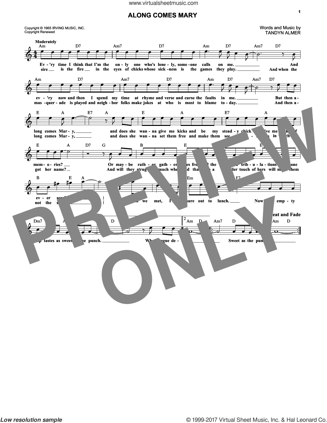 Along Comes Mary sheet music for voice and other instruments (fake book) by The Association and Tandyn Almer, intermediate skill level
