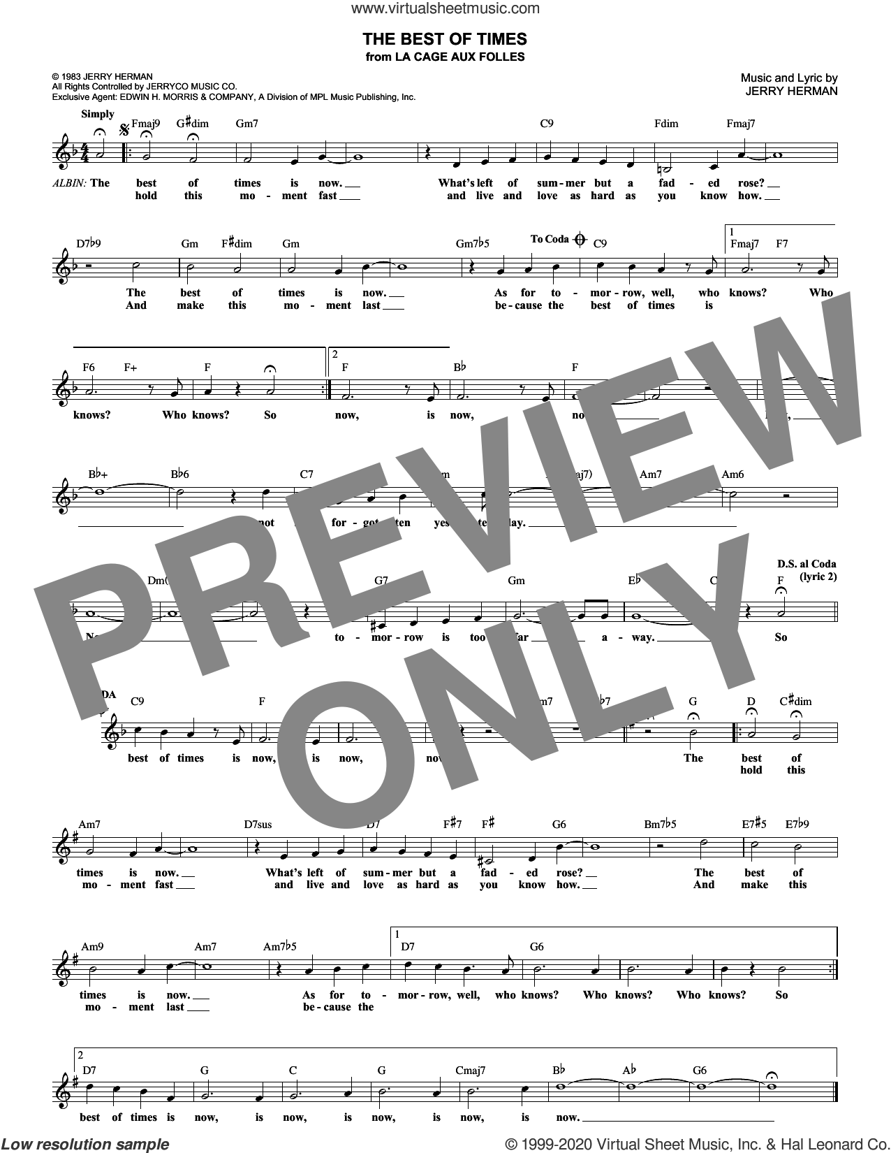 The Best Of Times sheet music for voice and other instruments (fake book) by Jerry Herman, intermediate skill level
