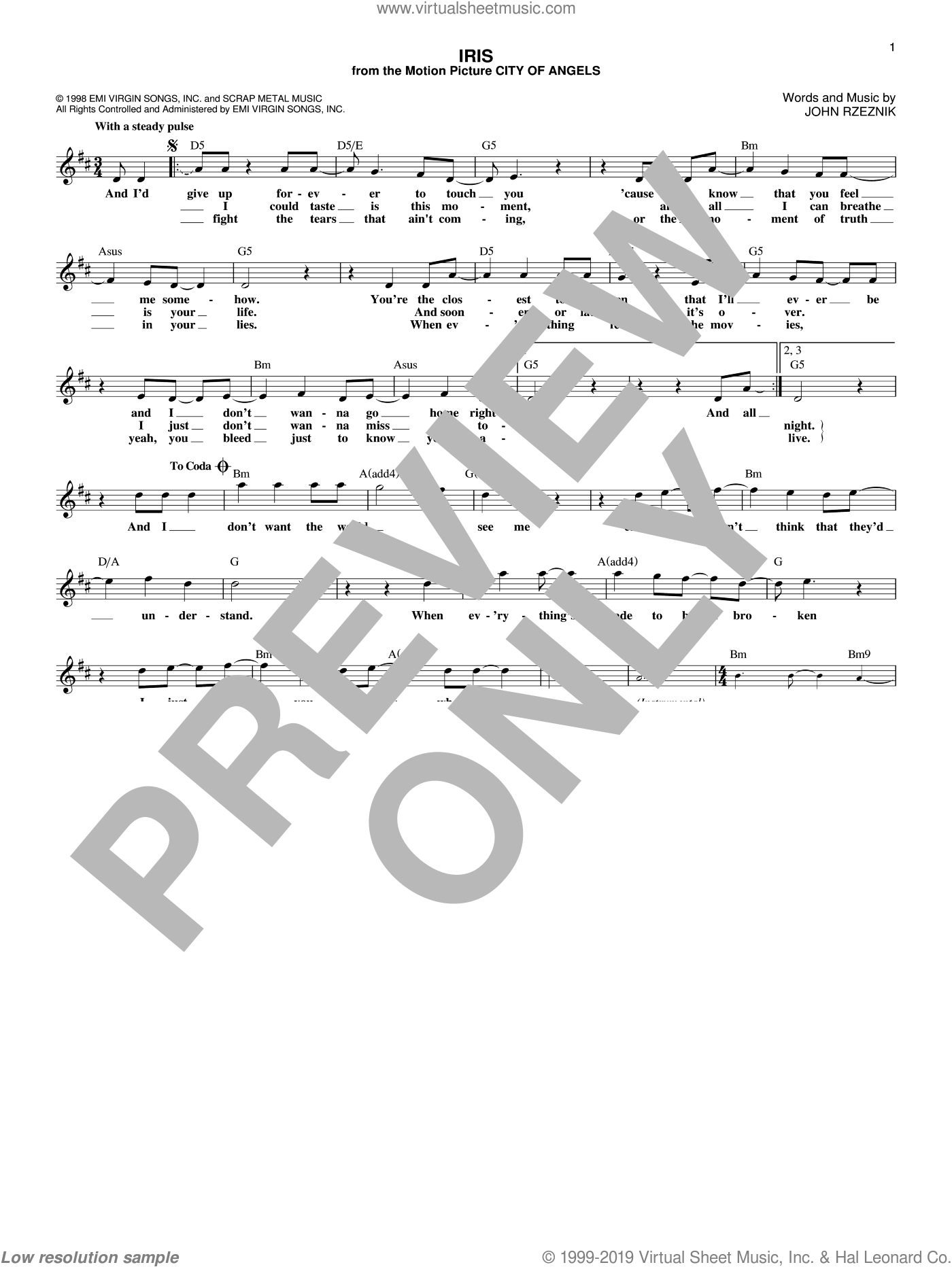 Iris sheet music for voice and other instruments (fake book) by Goo Goo Dolls and John Rzeznik, intermediate skill level