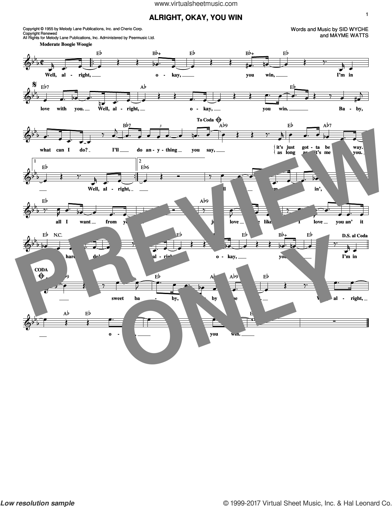 Alright, Okay, You Win sheet music for voice and other instruments (fake book) by Peggy Lee, Mayme Watts and Sid Wyche, intermediate