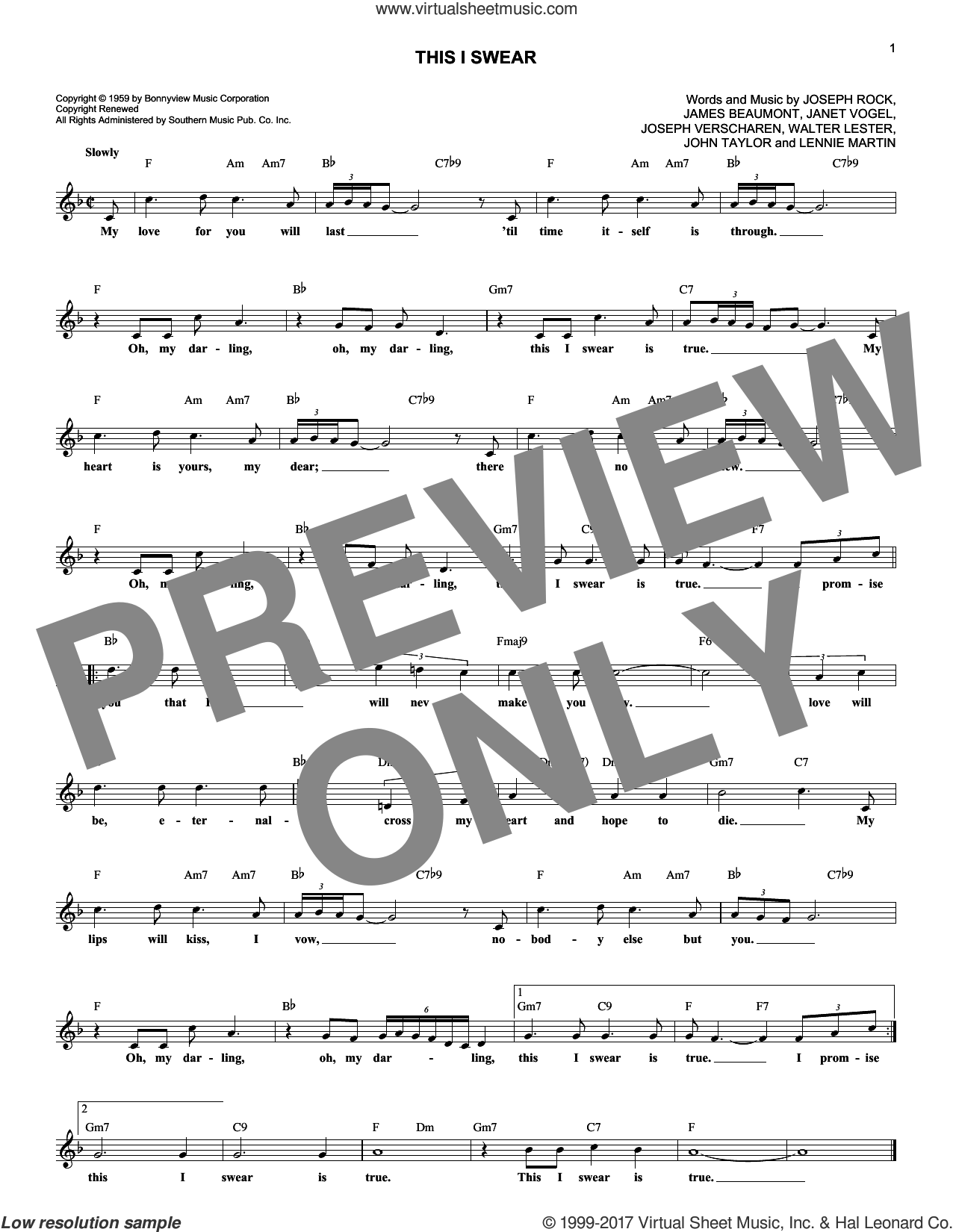 This I Swear sheet music for voice and other instruments (fake book) by Skyliners, James Beaumont, Janet Vogel, John Taylor, Joseph Rock, Joseph Verscharen, Lennie Martin and Walter Lester, intermediate skill level