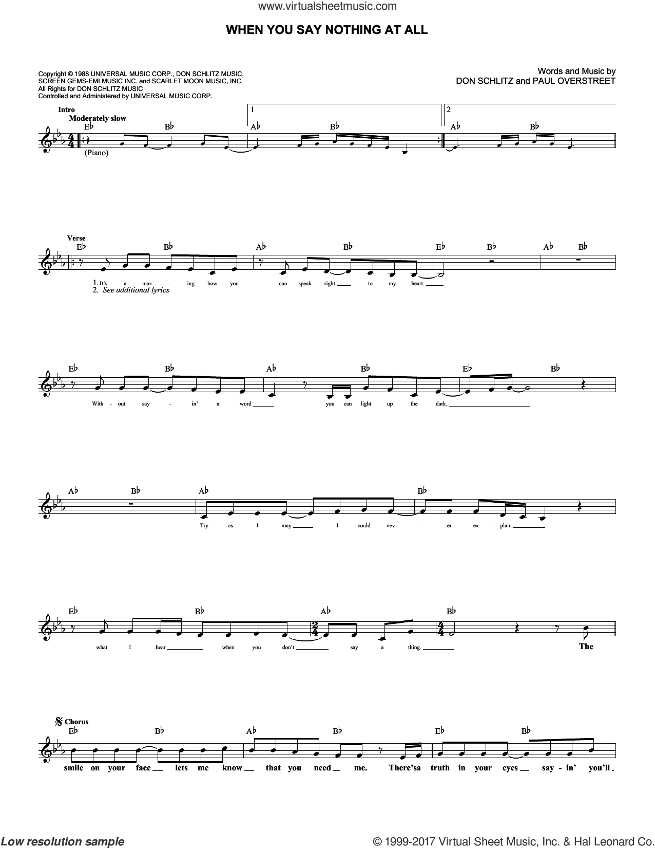 When You Say Nothing At All sheet music for voice and other instruments (fake book) by Alison Krauss & Union Station, Keith Whitley, Don Schlitz and Paul Overstreet, intermediate skill level