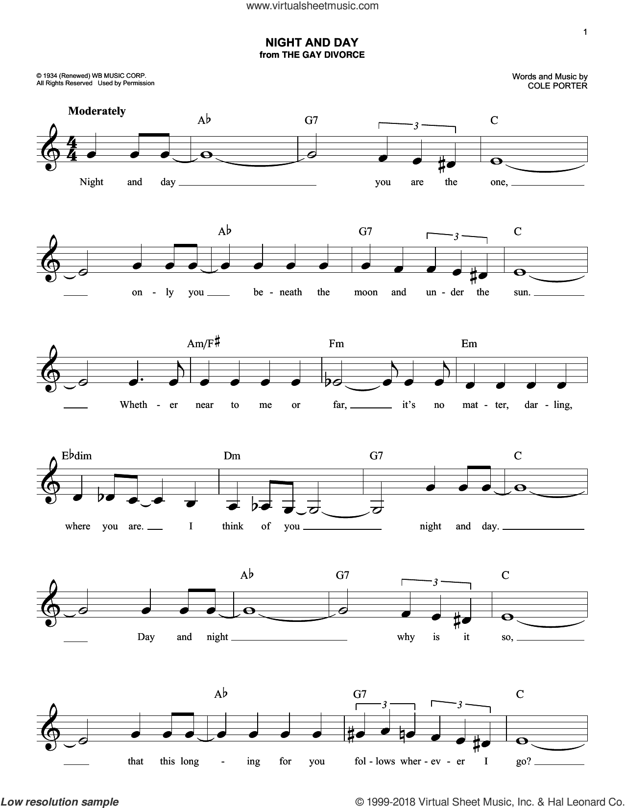 Night And Day sheet music for voice and other instruments (fake book) by Cole Porter, intermediate skill level
