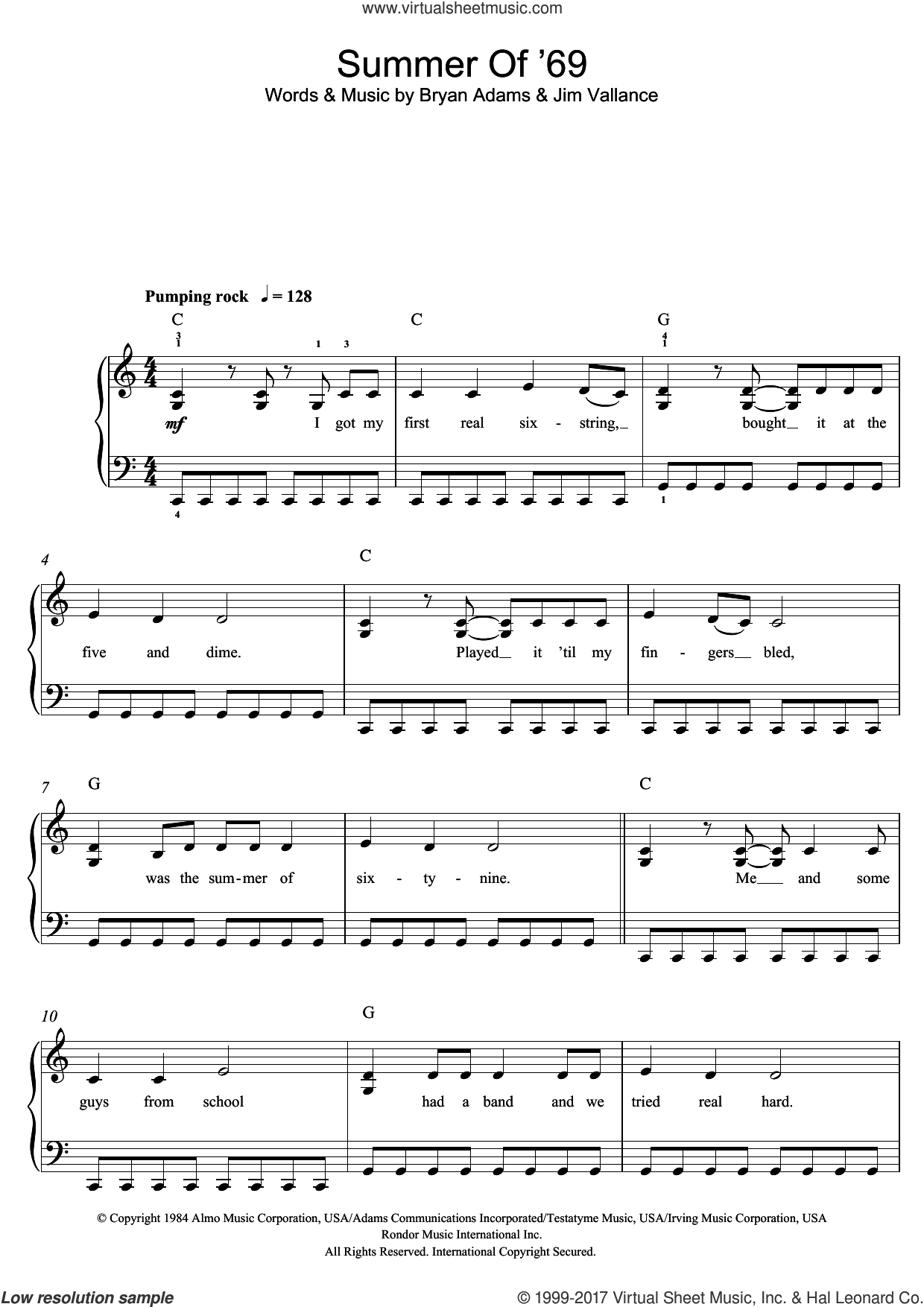 Summer Of '69 sheet music for piano solo (beginners) by Bryan Adams, beginner piano (beginners). Score Image Preview.