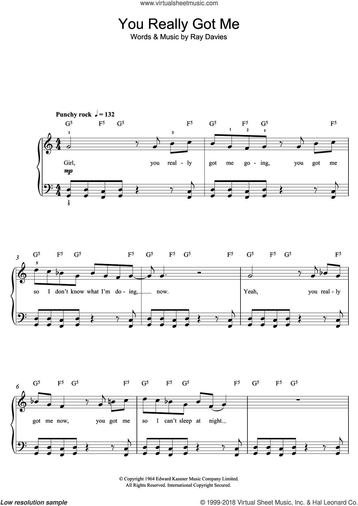 You Really Got Me sheet music for piano solo (beginners) by The Kinks, beginner piano (beginners). Score Image Preview.