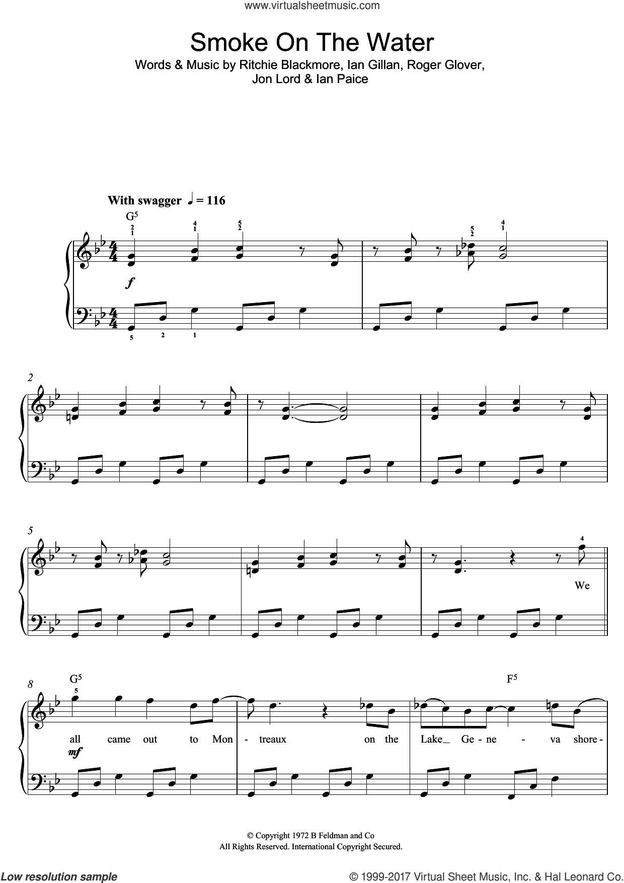 Smoke On The Water sheet music for piano solo (beginners) by Deep Purple, Ian Gillan, Ian Paice, Jon Lord, Ritchie Blackmore and Roger Glover, beginner piano (beginners)