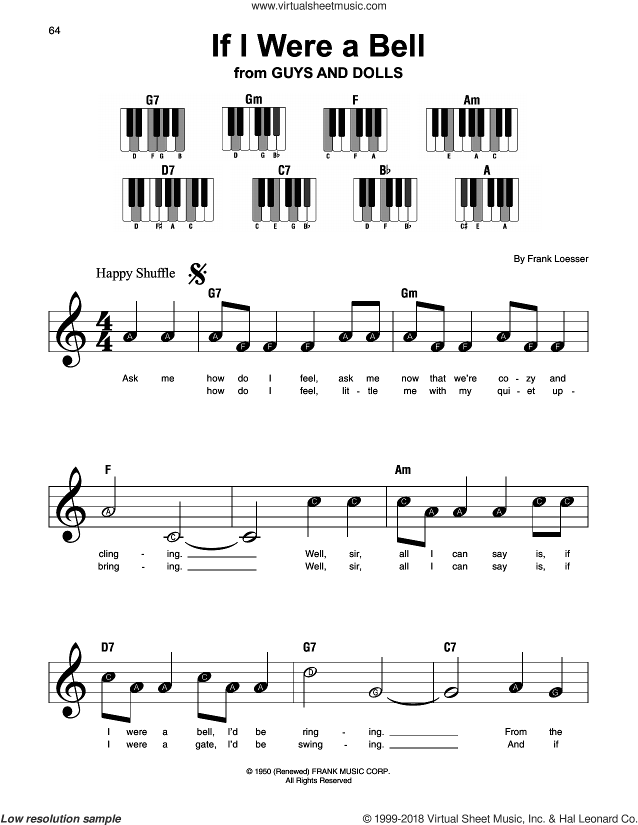 If I Were A Bell sheet music for piano solo by Frank Loesser, beginner skill level