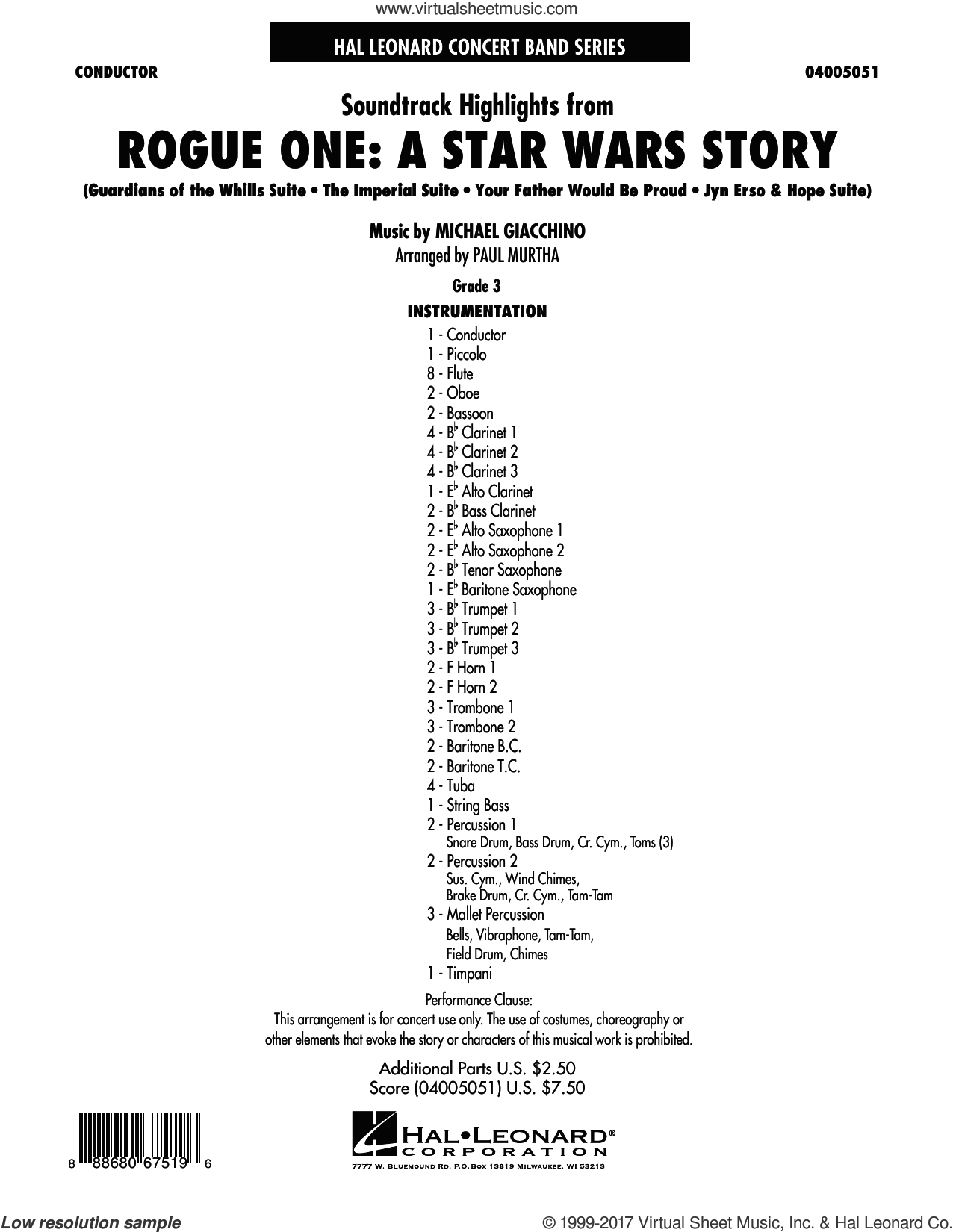 Rogue One: A Star Wars Story (COMPLETE) sheet music for concert band by Paul Murtha and Michael Giacchino, classical score, intermediate. Score Image Preview.