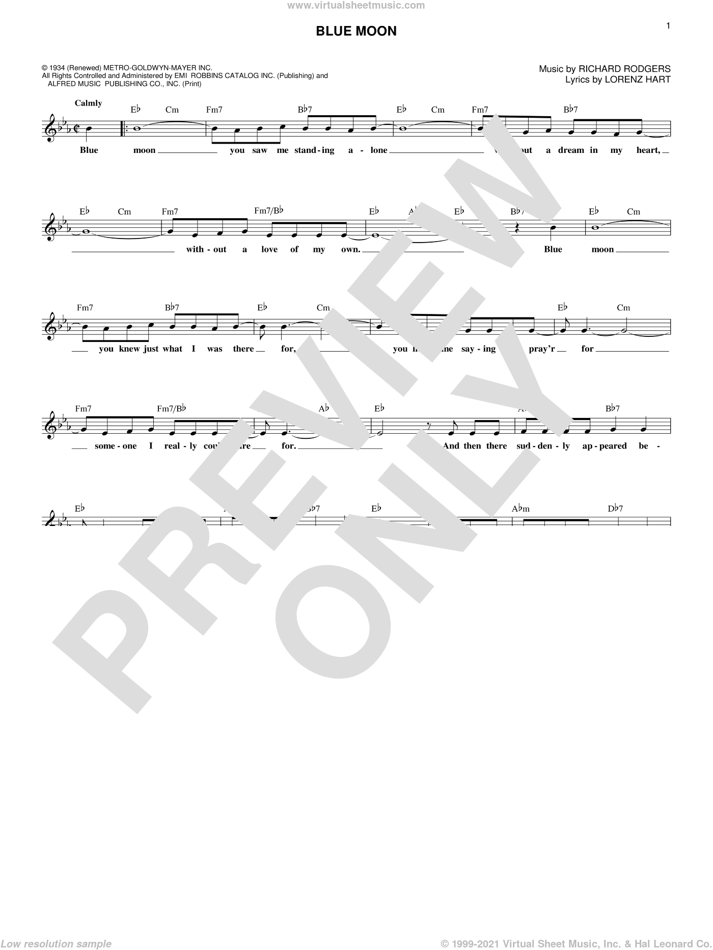Blue Moon sheet music for voice and other instruments (fake book) by Rodgers & Hammerstein, Elvis Presley, The Marcels, Lorenz Hart and Richard Rodgers, intermediate skill level